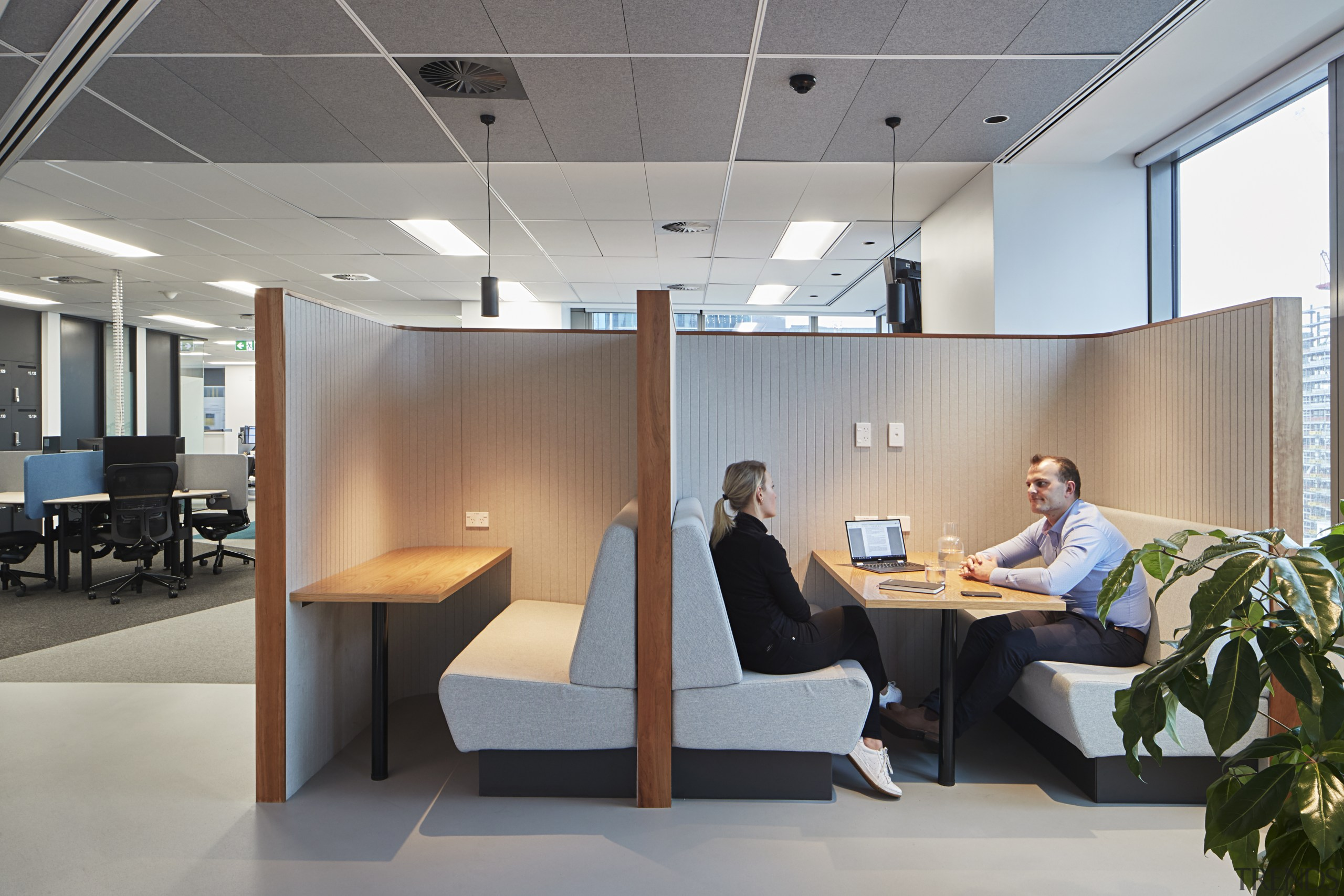 One of the many breakout spaces in the ceiling, furniture, interior design, office, gray