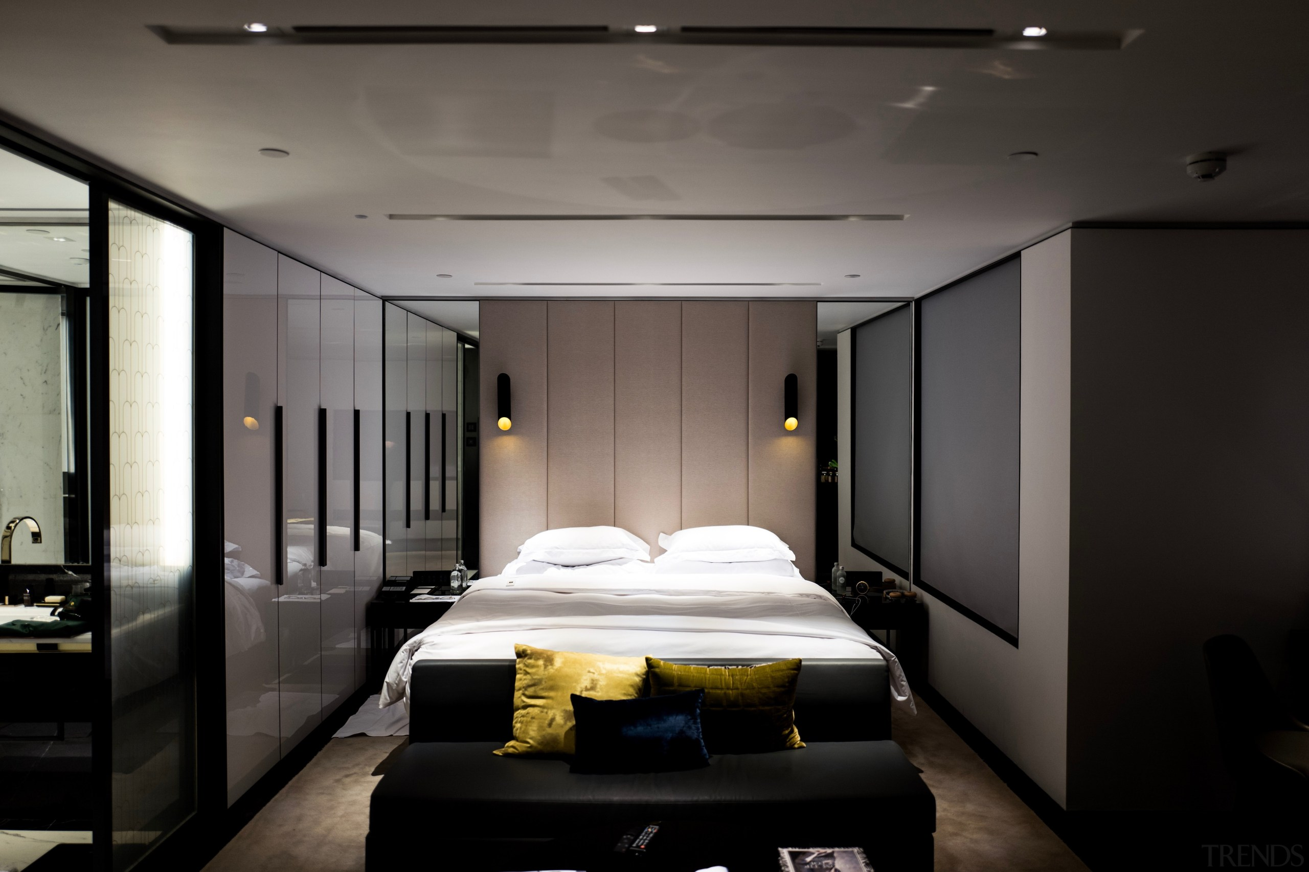 While going all grey is bang on trend, architecture, bed, bed frame, bedroom, boutique hotel, building, ceiling, floor, furniture, house, interior design, lighting, mattress, property, room, suite, black, gray
