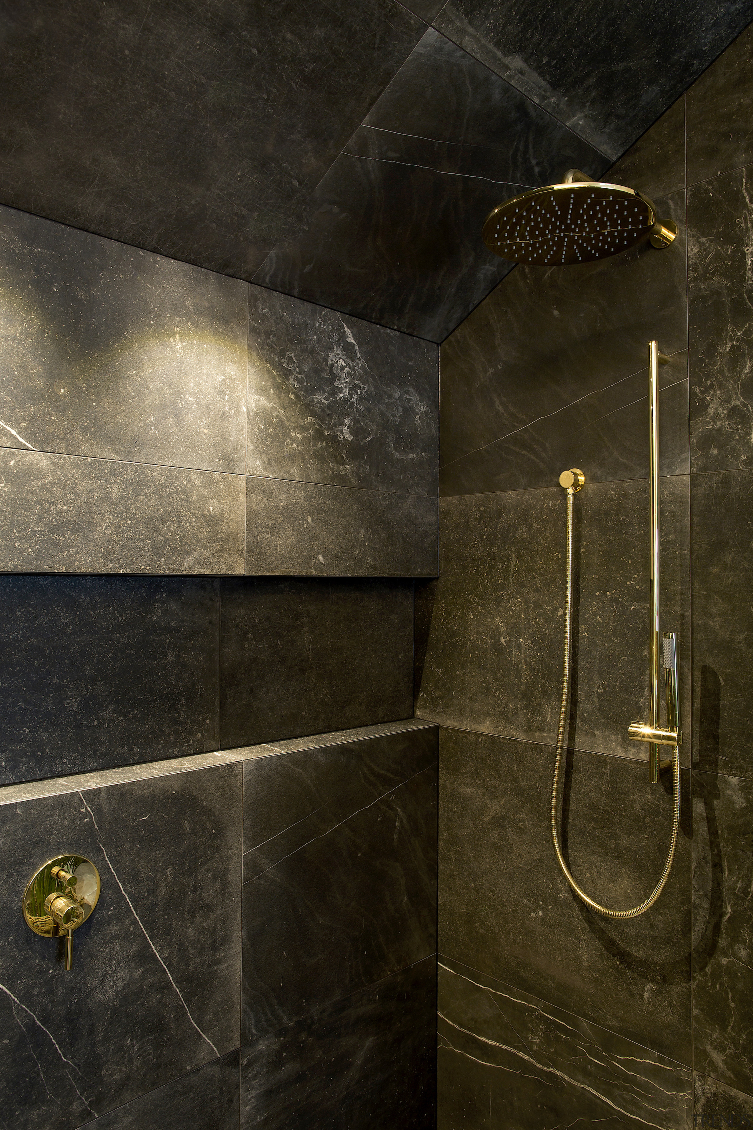 In the details – brushed brass shower fittings