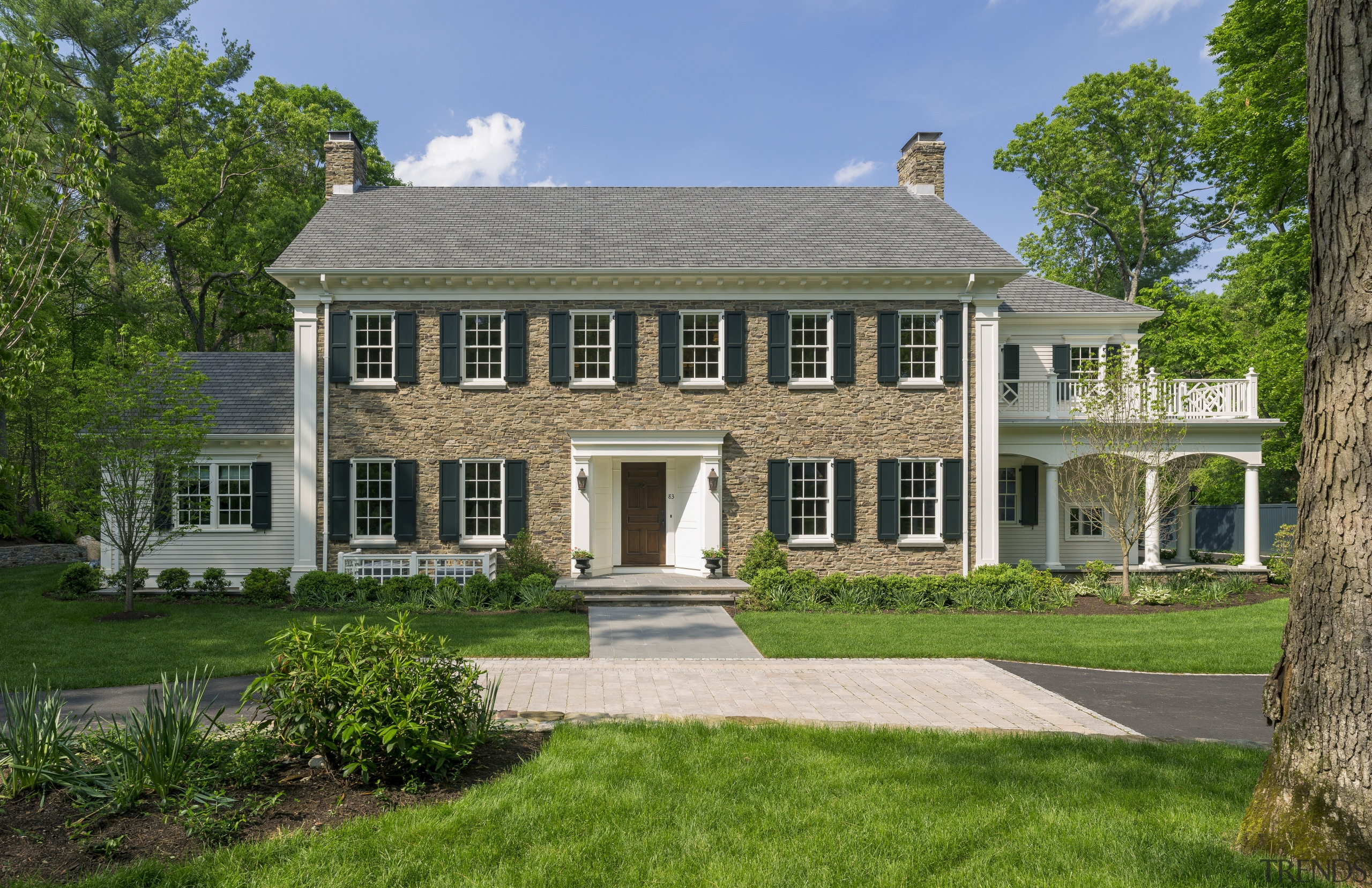 Curb appeal is assured with this New England cottage, estate, farmhouse, grass, historic house, home, house, manor house, mansion, plantation, property, real estate, residential area, window, green