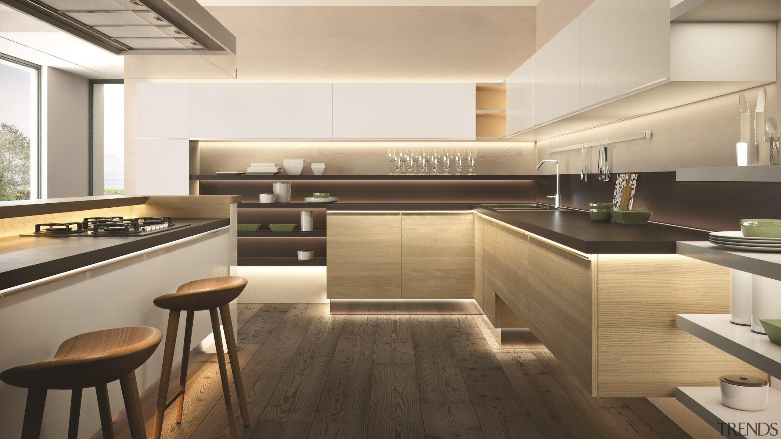 Domus Line Flexible Led Strip In Toekick And cabinetry, countertop, cuisine classique, floor, interior design, kitchen, white