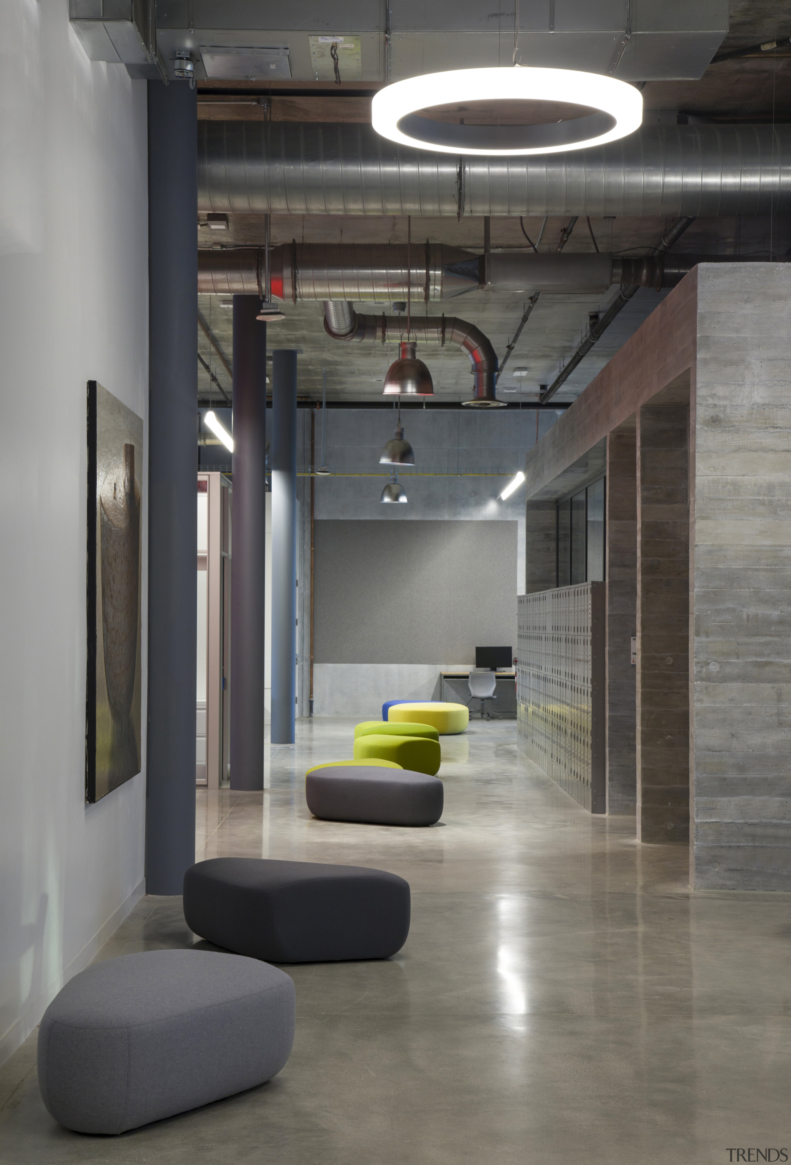 Exposed services work well with the pared back, architecture, building, ceiling, design, flooring, furniture, interior design, light fixture, lighting, lobby, loft, tile, wall, black, exposed services