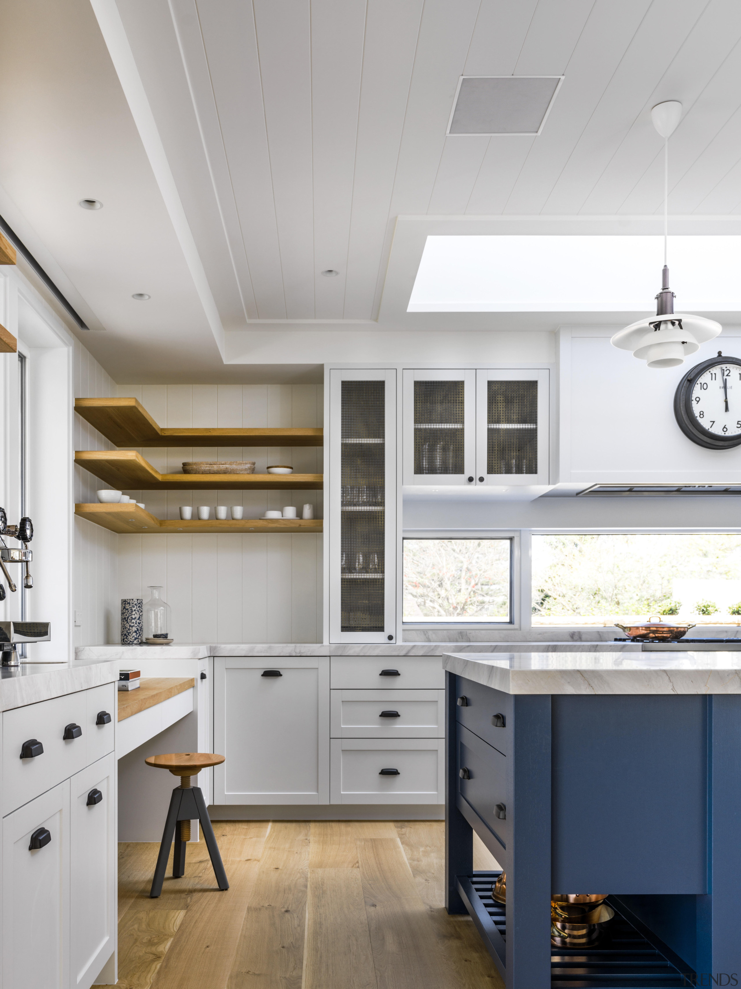 Shiplap board walls and ceiling; Shaker-style, panelled, furniture-like gray