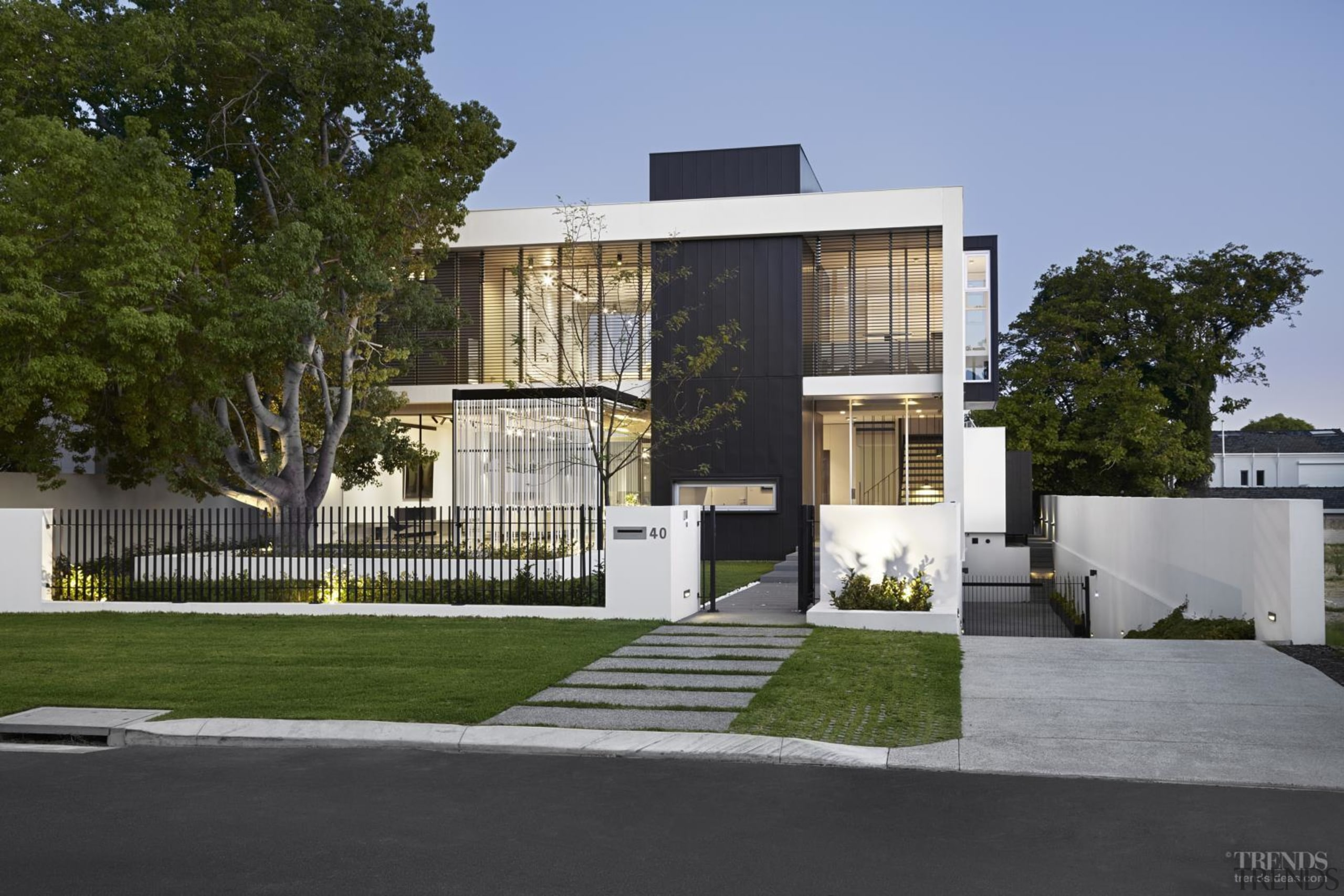 External screens bring privacy to the glass pavilions architecture, building, condominium, elevation, estate, facade, home, house, property, real estate, residential area, brown