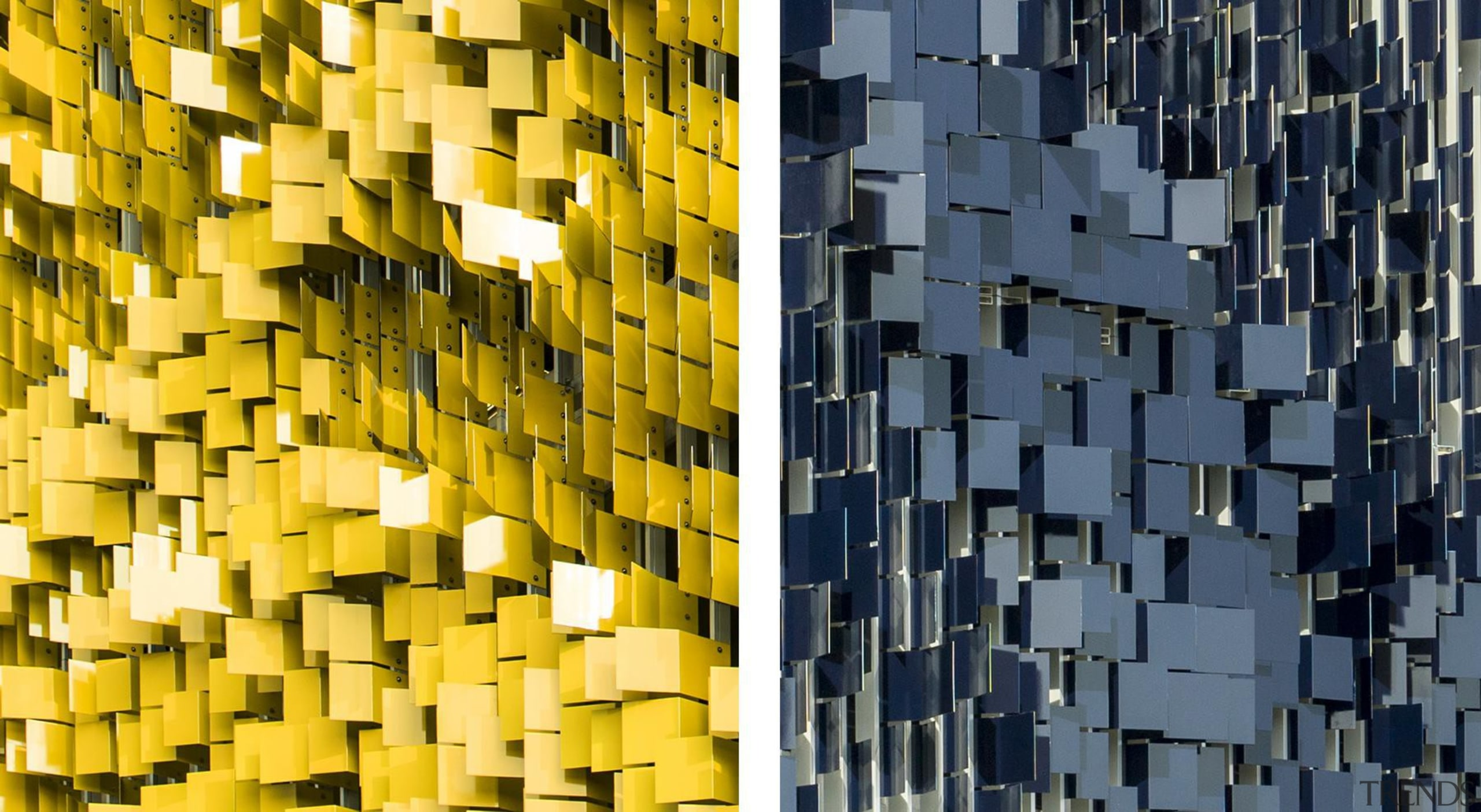 This display on the parking structure at Eskenazi architecture, building, facade, line, metropolis, pattern, skyscraper, symmetry, wall, yellow