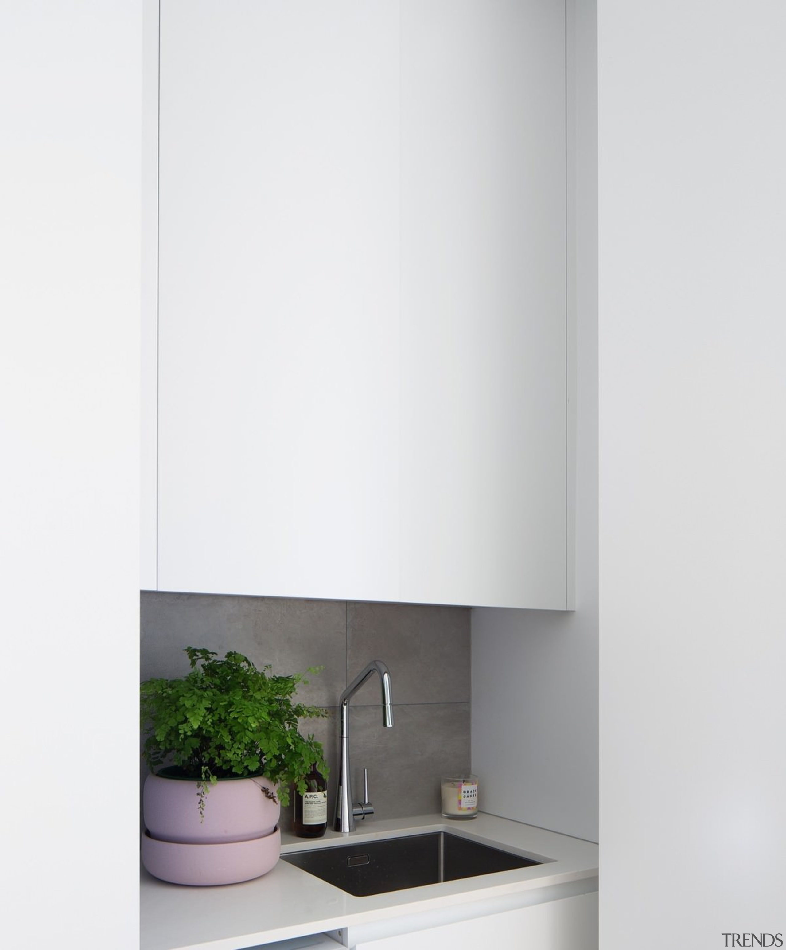This sink nook is a clever use of bathroom accessory, bathroom cabinet, interior design, product, product design, tap, white