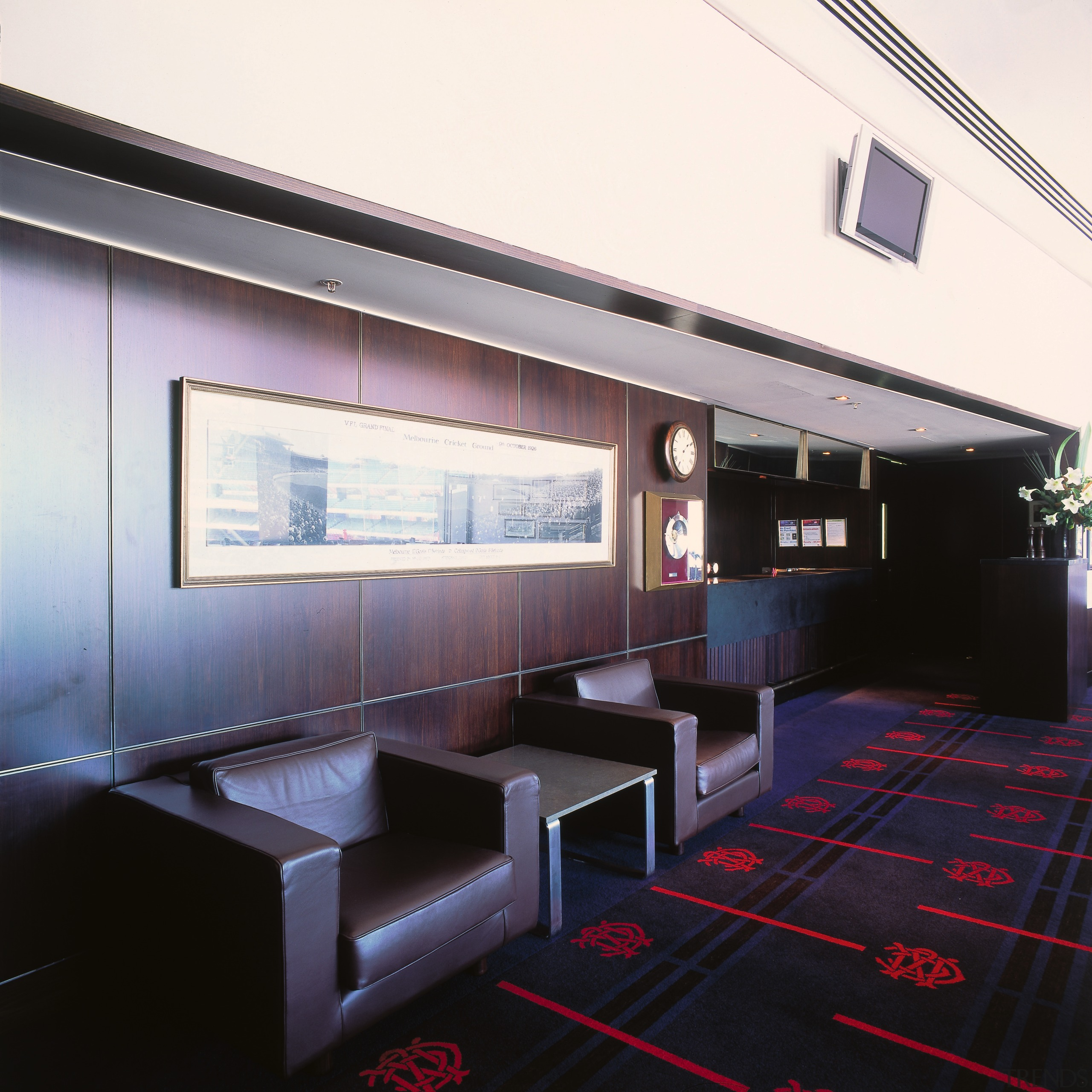 Reception area with dark leather armchairs and blackwood architecture, interior design, public transport, black, white