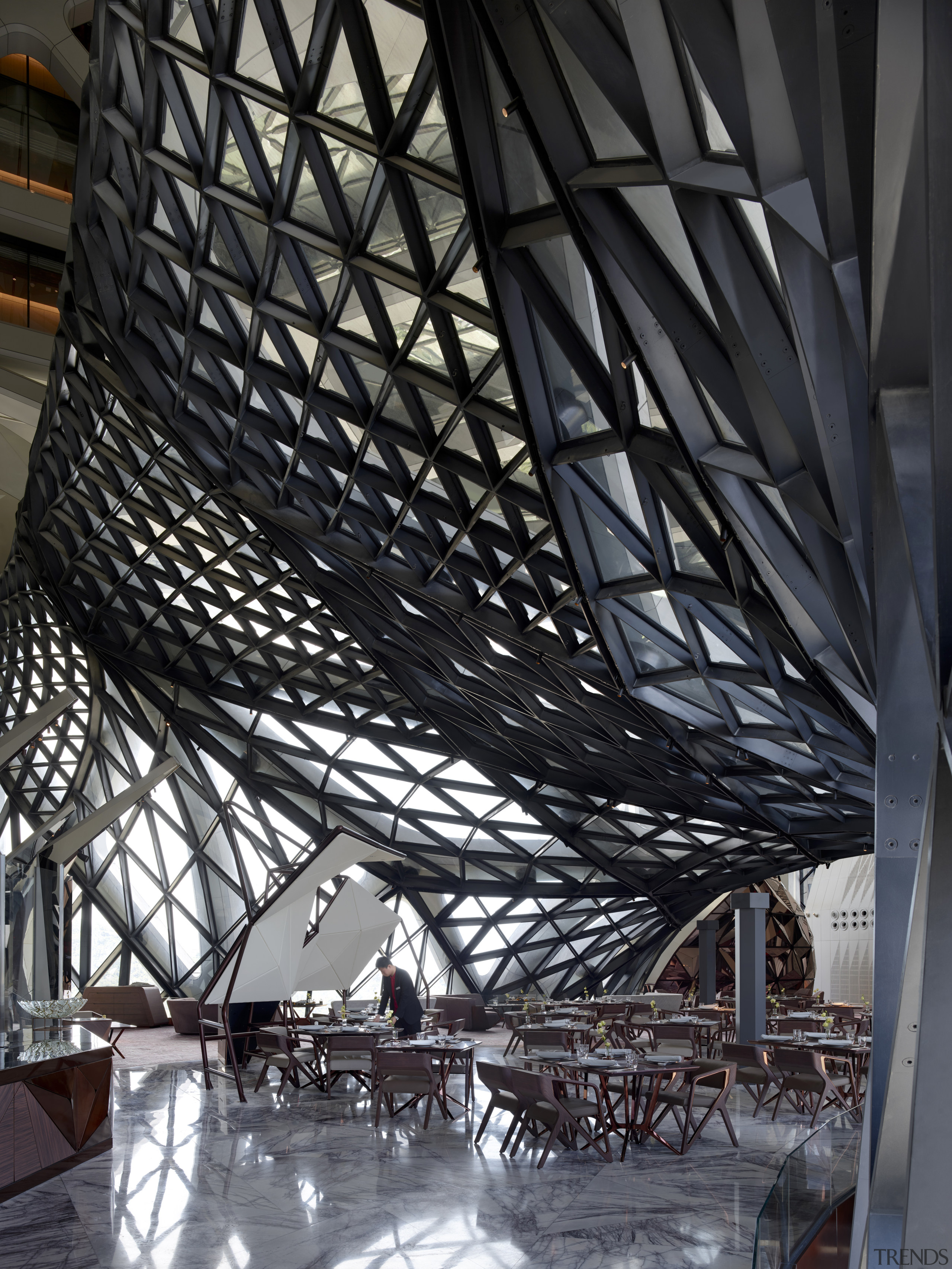 Like many of Morpheus' public spaces, this restaurant architecture, building, daylighting, metal, steel, structure, tourist attraction, black, gray