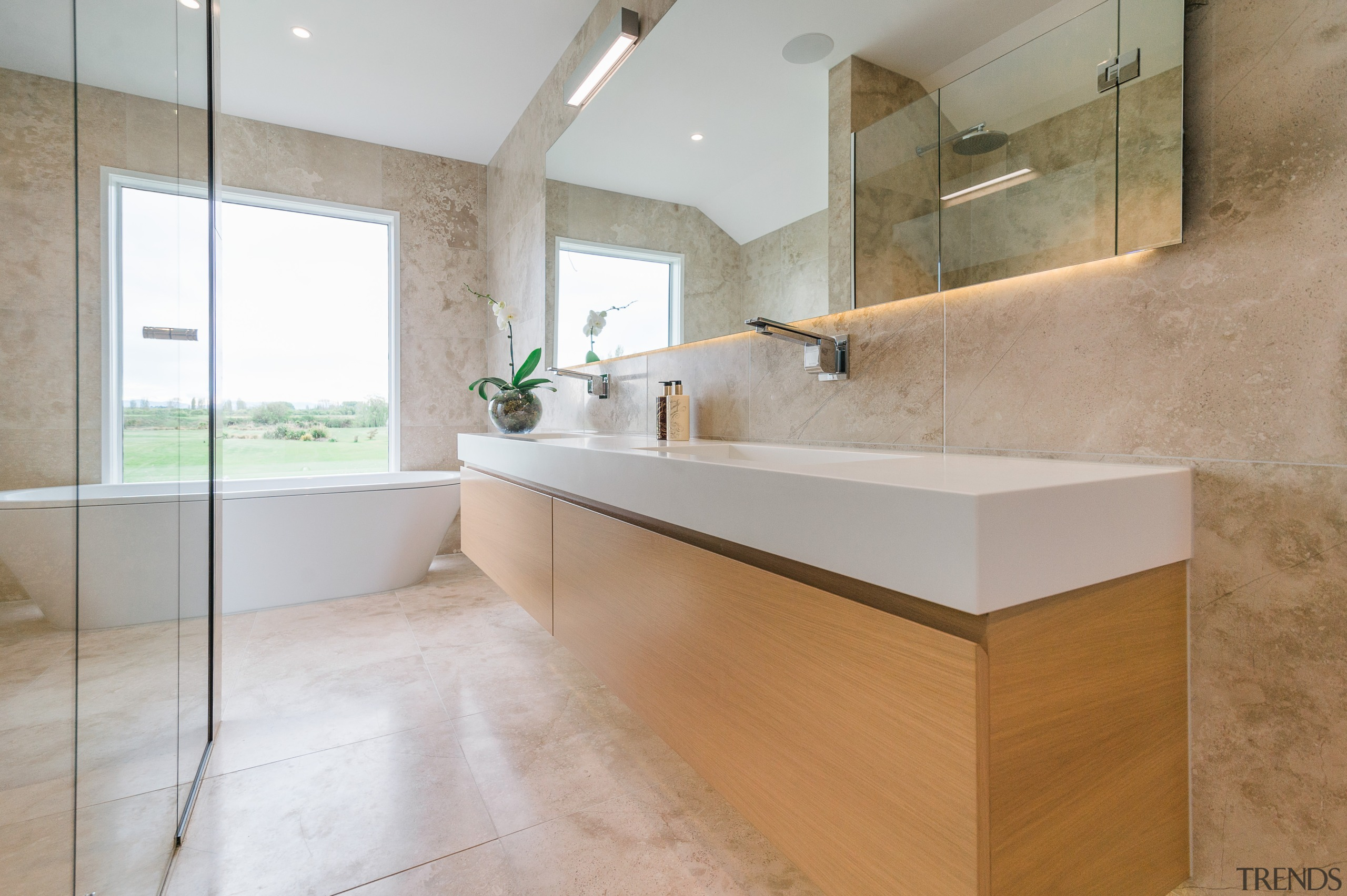 Vanity, glass-fronted shower stall, and the long wall architecture, bathroom, countertop, floor, flooring, home, interior design, real estate, room, sink, tile, gray