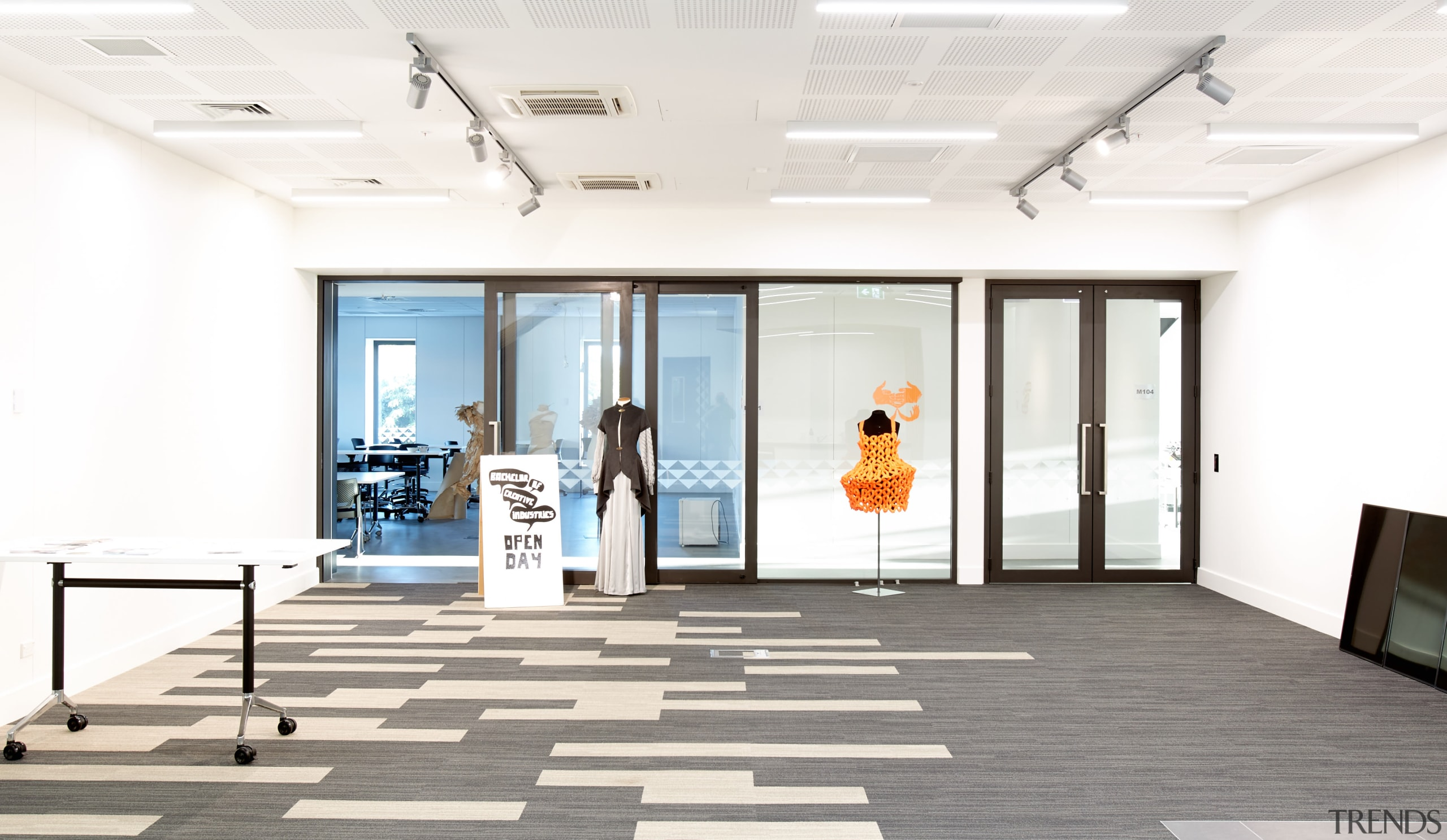 Designed by Chow Hill Architects, Te Ara o ceiling, daylighting, floor, flooring, interior design, lobby, white