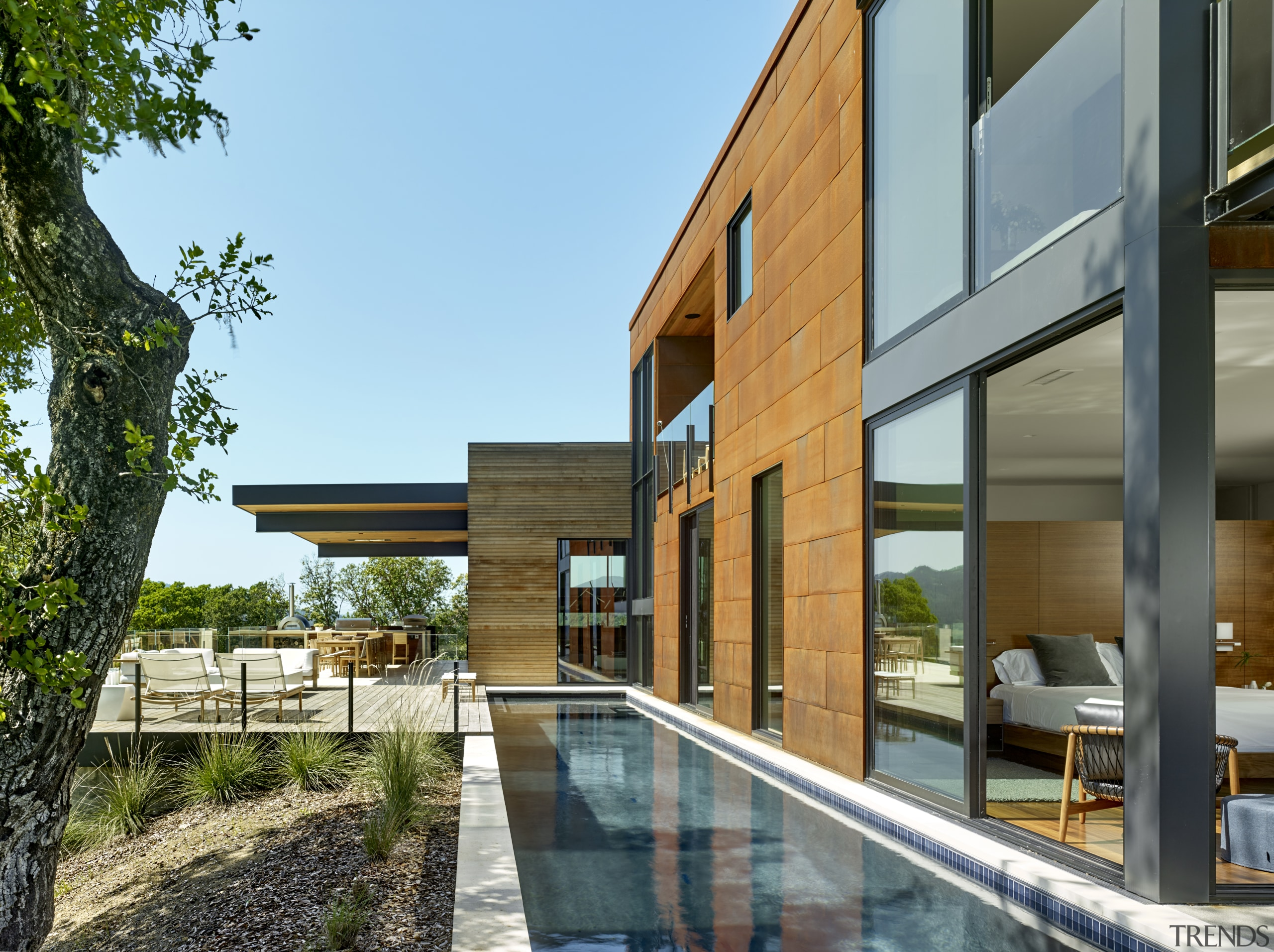 Having a lap pool sitting right up against architecture, building, design, exrterior facade, home, house, urban design, lap pool, timber cladding, de Vito Architecture + Construction