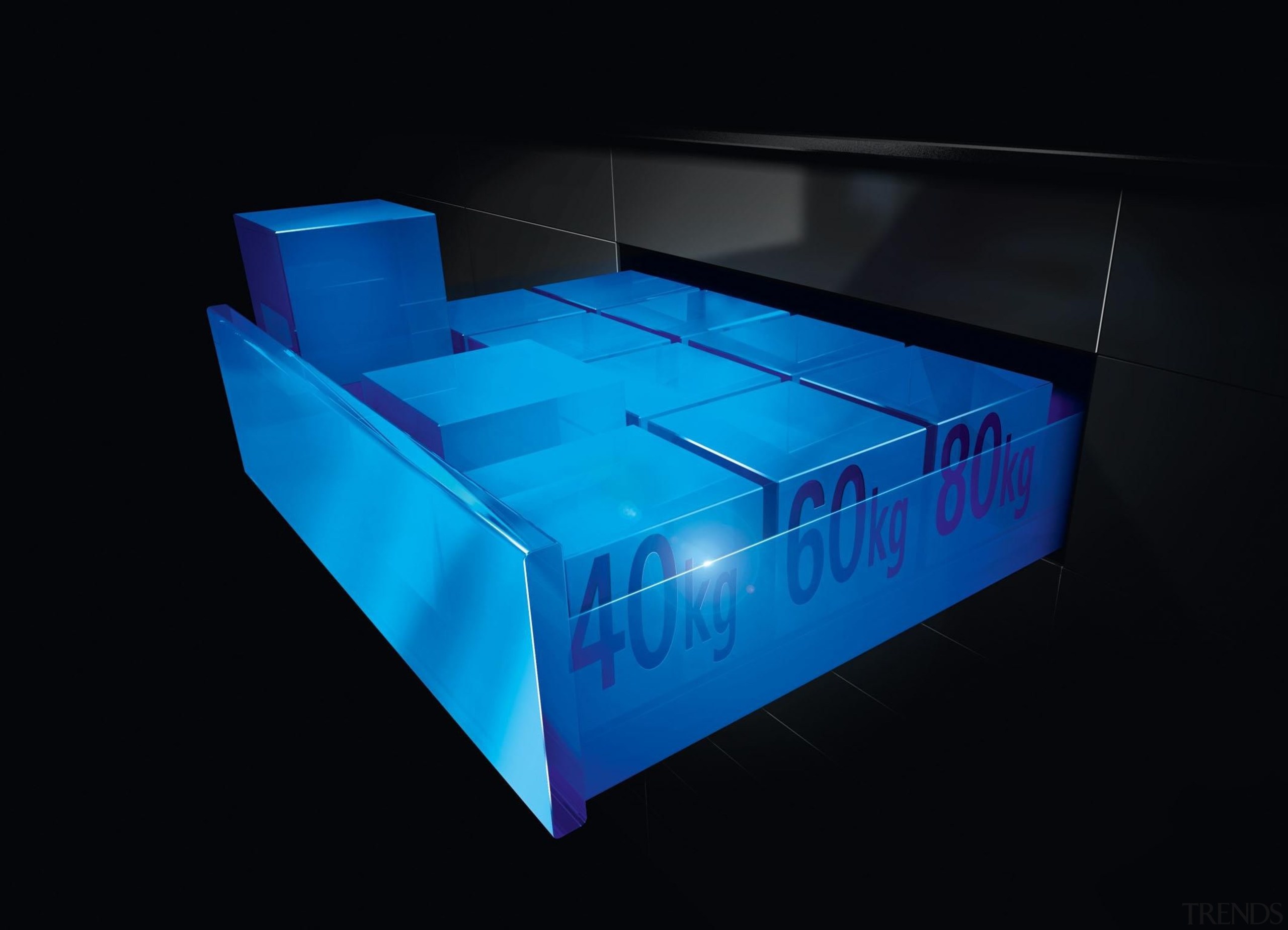 Featuring runners in the 40, 60 and 80 blue, light, plastic, product, product design, table, black