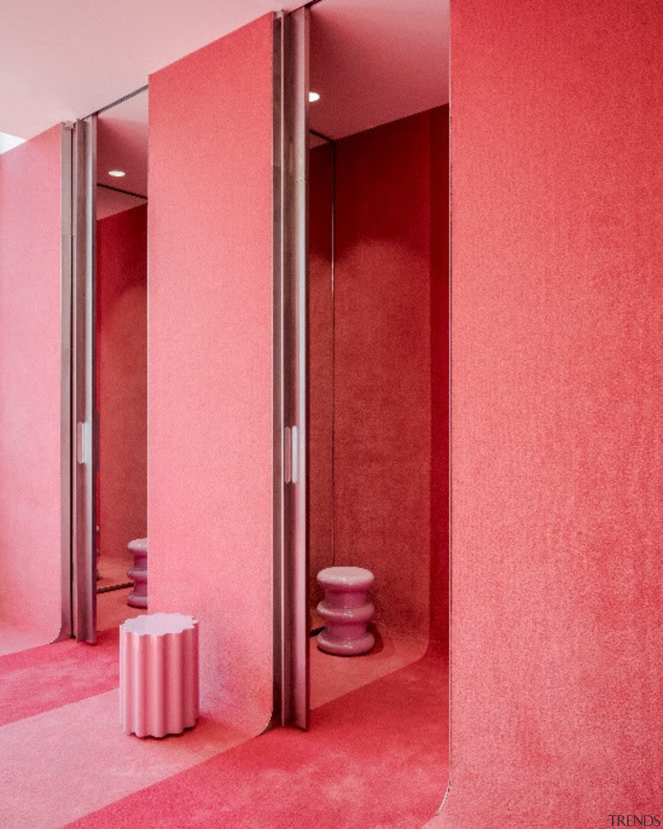 Photo by Michel Florent - Discover BIG's retail architecture, door, interior design, material property, pink, red, room, wall, red