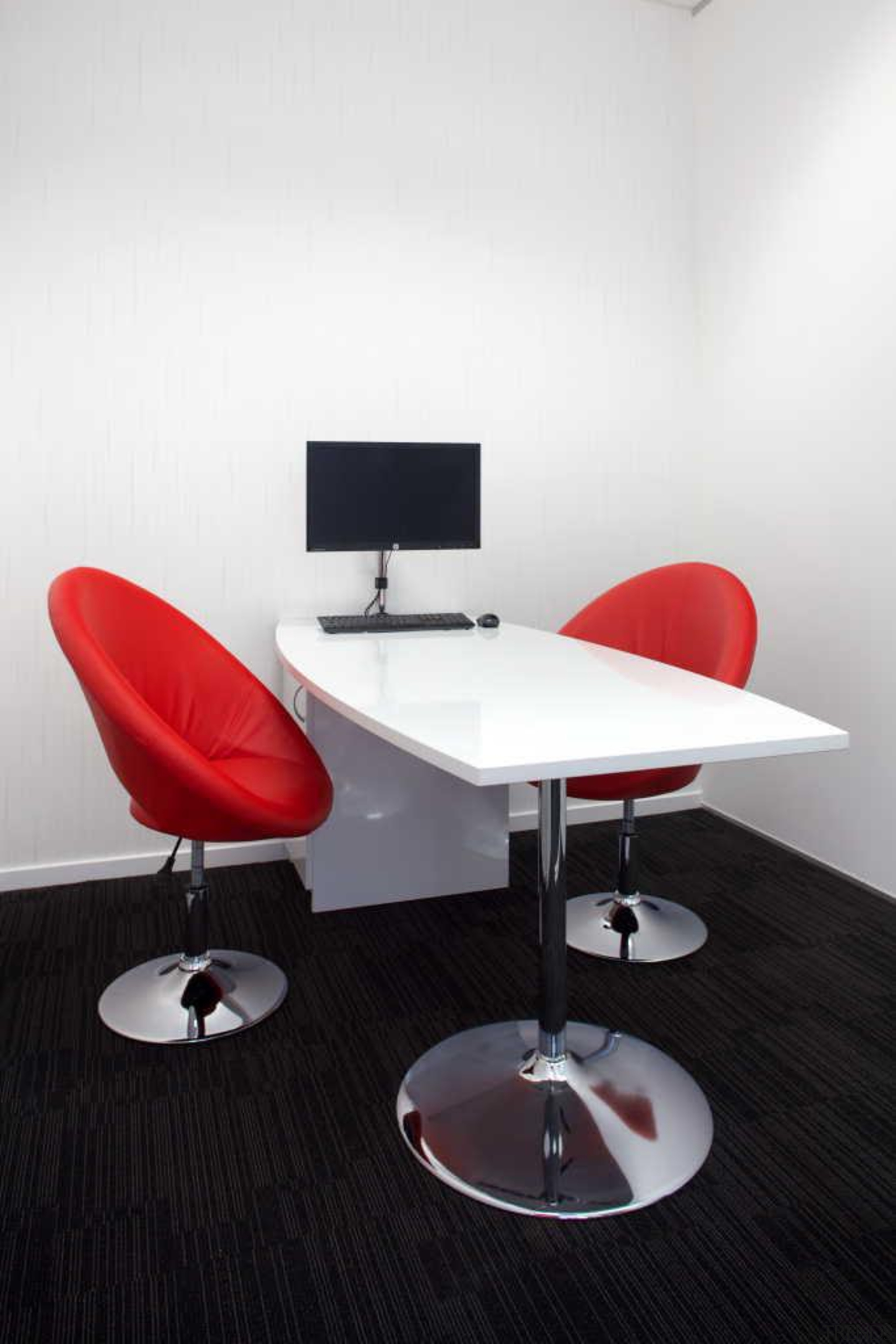 interview room at dkw personnel office designed by angle, chair, furniture, interior design, office, office chair, product, product design, table, white, black