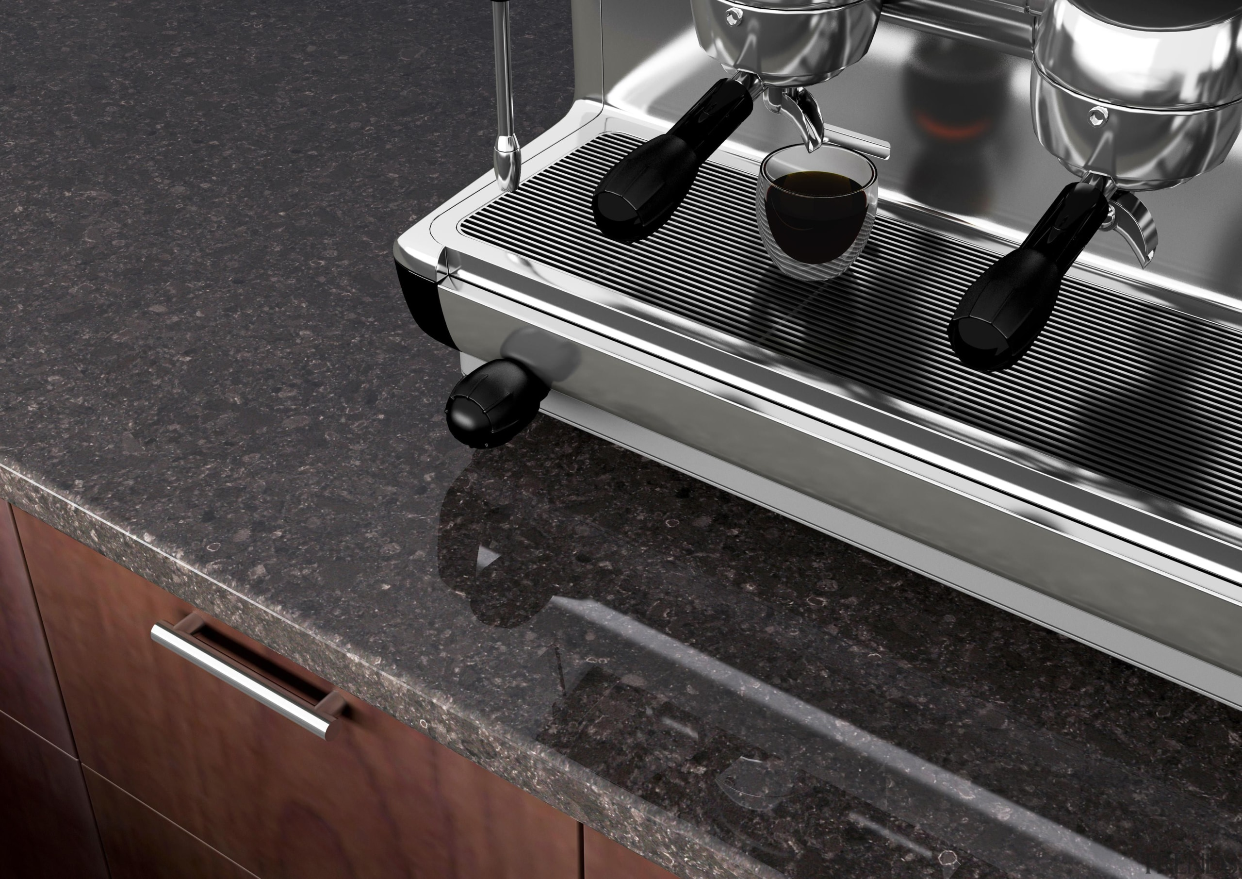 A deliciously organic, rich, blended classic warm brown. countertop, floor, flooring, product design, black