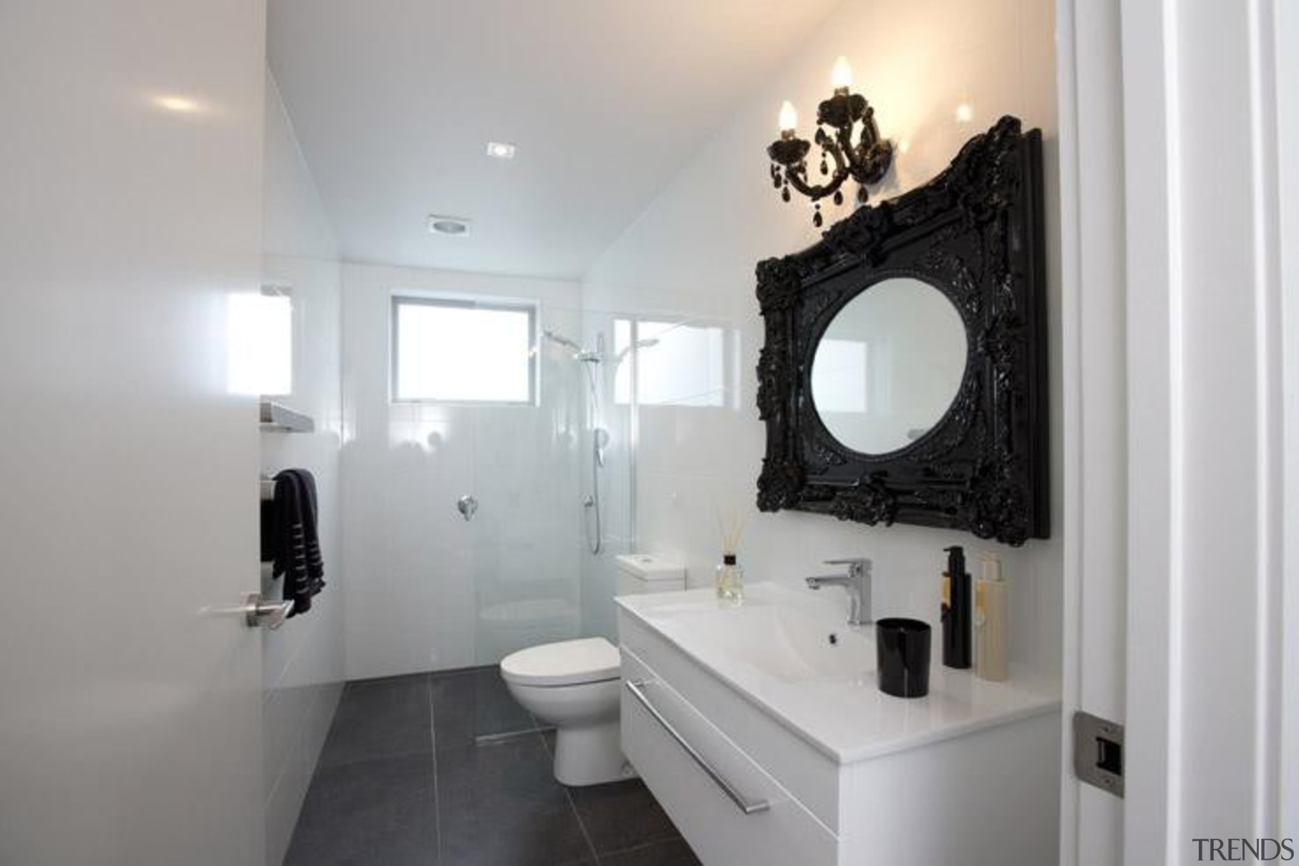 Anthracite bathroom floor and Easy White Gloss wall. bathroom, bathroom accessory, home, interior design, plumbing fixture, property, room, sink, gray