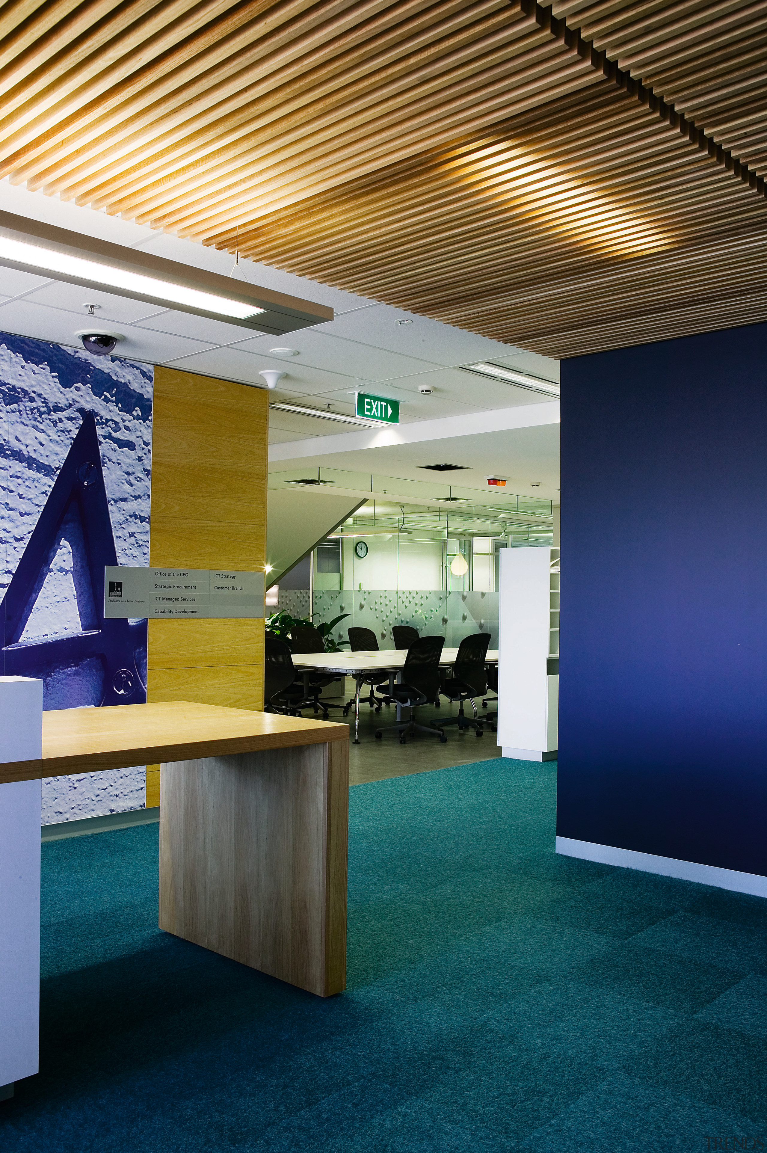 A view of the interior offices of the architecture, ceiling, daylighting, interior design, office, product design