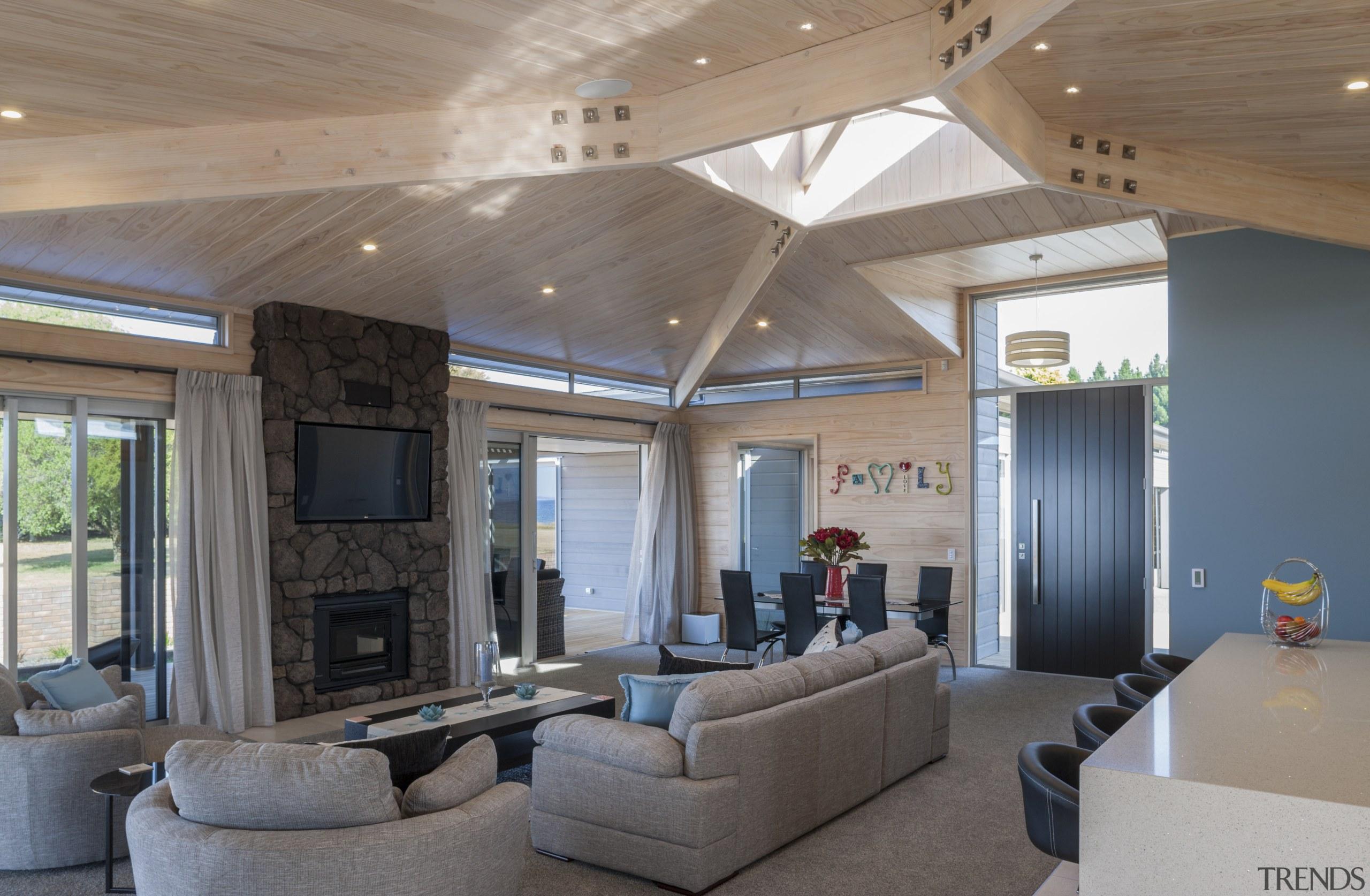 Lockwood Home built by Peter Richards - Lockwood ceiling, daylighting, estate, house, interior design, living room, lobby, real estate, gray