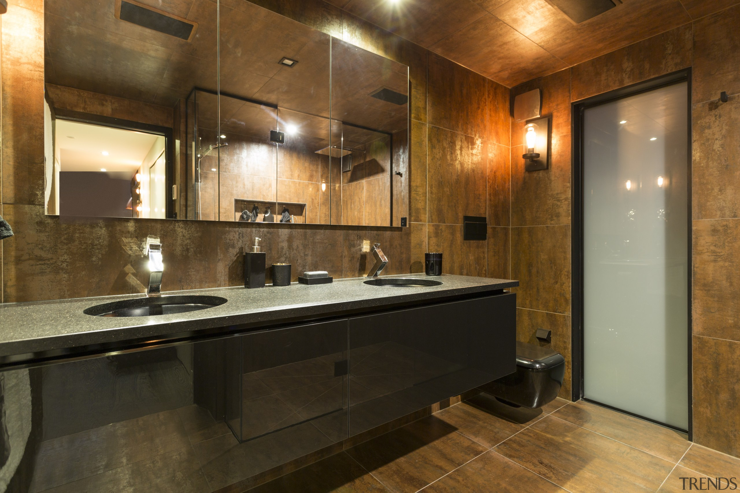 Choice of materials in this bathroom by designer cabinetry, ceiling, countertop, flooring, interior design, kitchen, real estate, room, brown