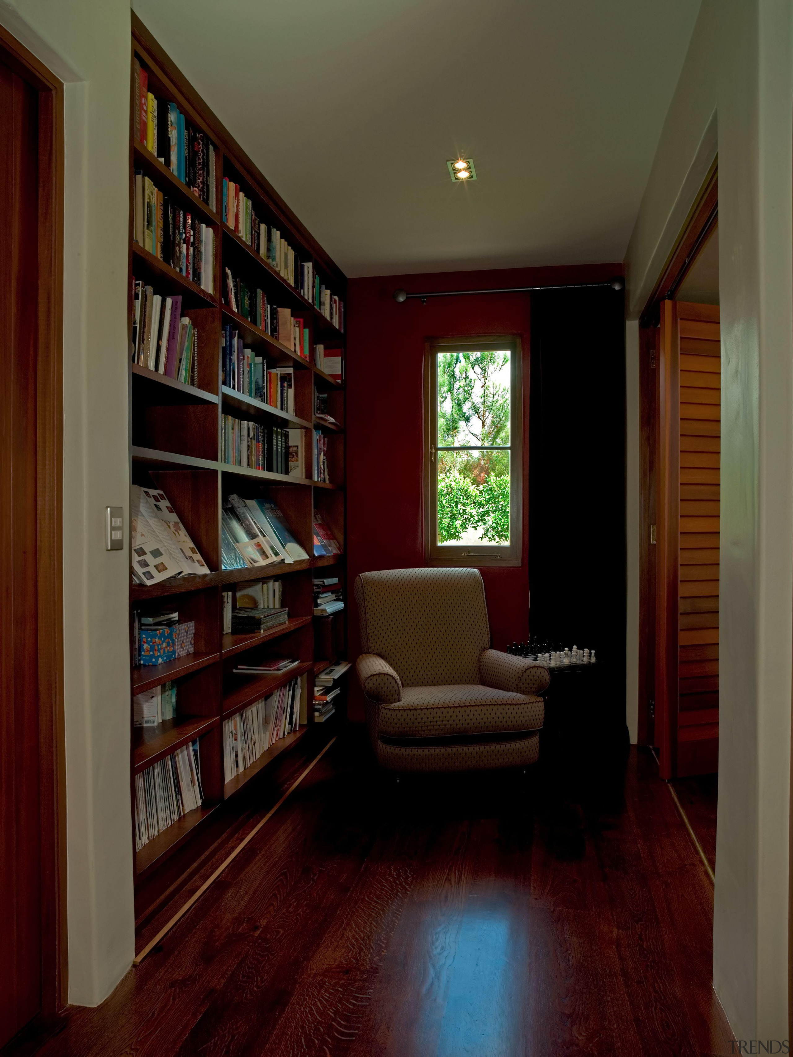 139 onetaunga library - Onetaunga Library - bookcase bookcase, cabinetry, ceiling, floor, flooring, furniture, hardwood, home, interior design, library, living room, real estate, room, shelf, shelving, wall, window, red, brown