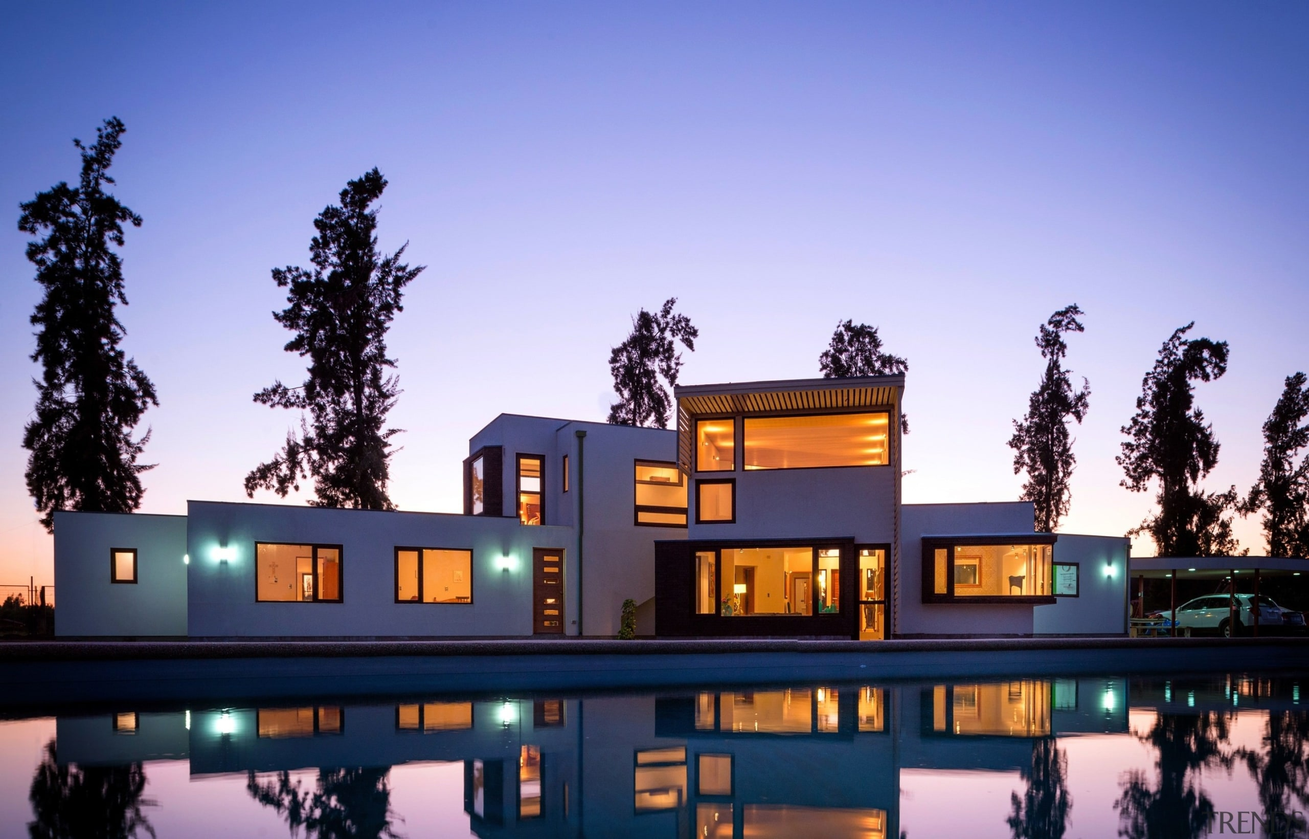 It's a home that's fit for place - architecture, estate, home, house, lighting, mixed use, property, real estate, reflection, residential area, sky, villa, blue