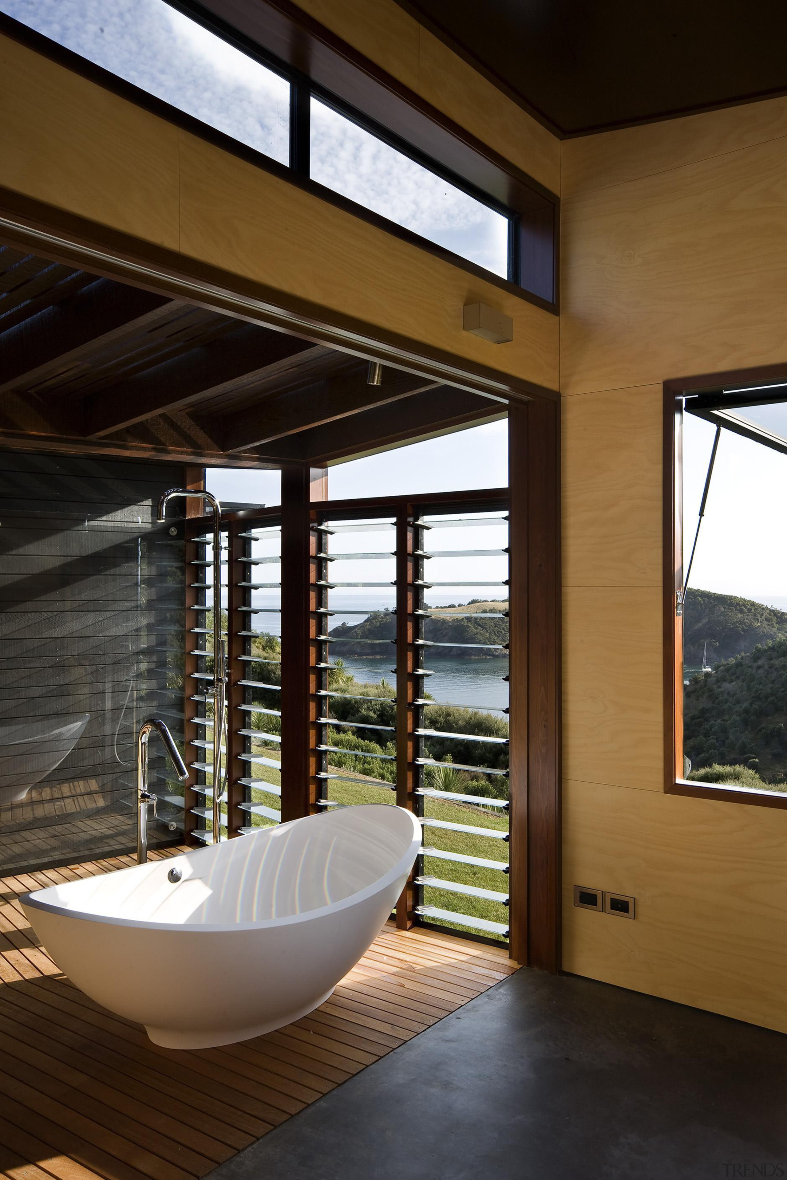 Waiheke Island, Auckland - Owhanake Bay - architecture architecture, bathroom, daylighting, house, interior design, window, black, brown