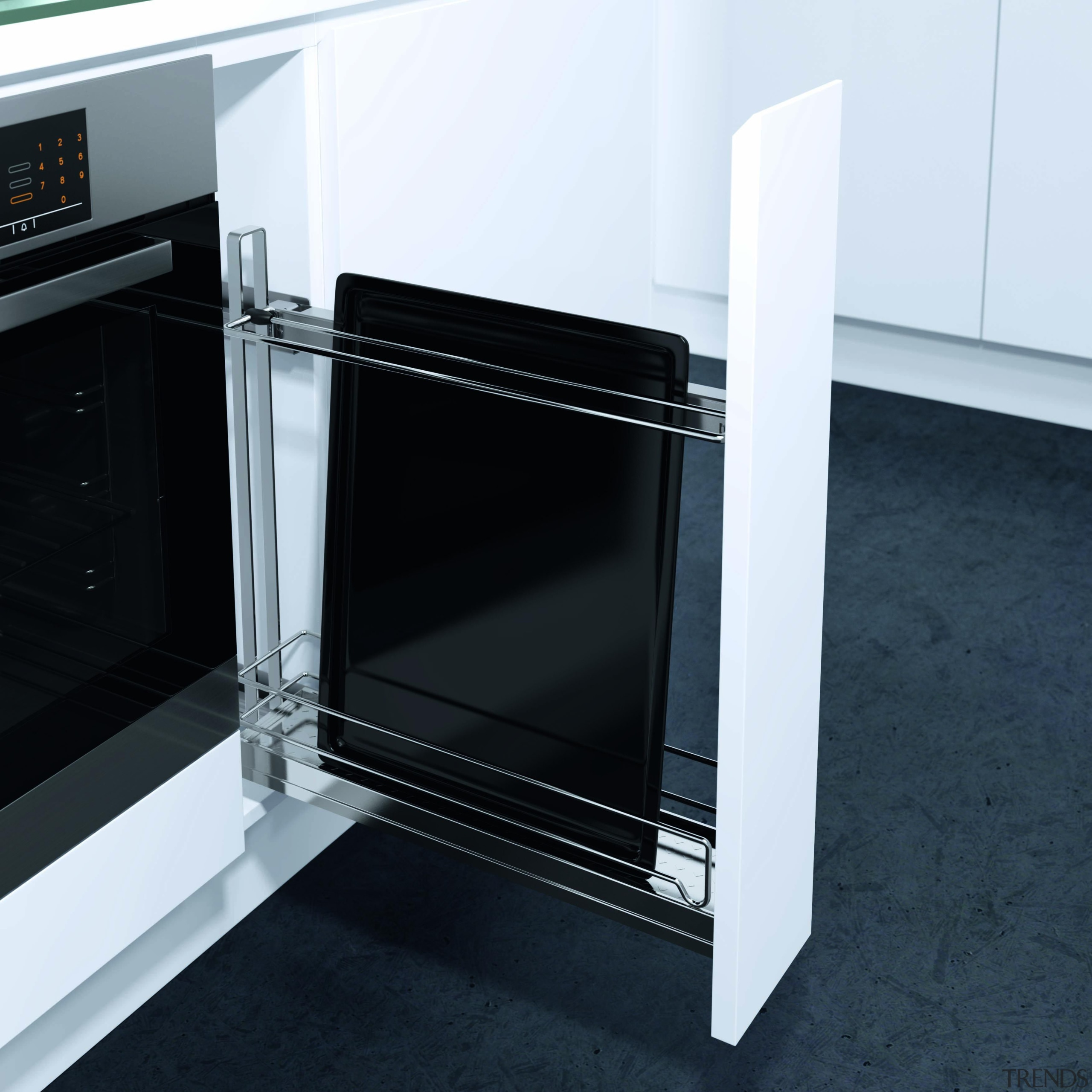 Suiting a cabinet width of just 150mm, Vauth furniture, home appliance, product, product design, table, black, white