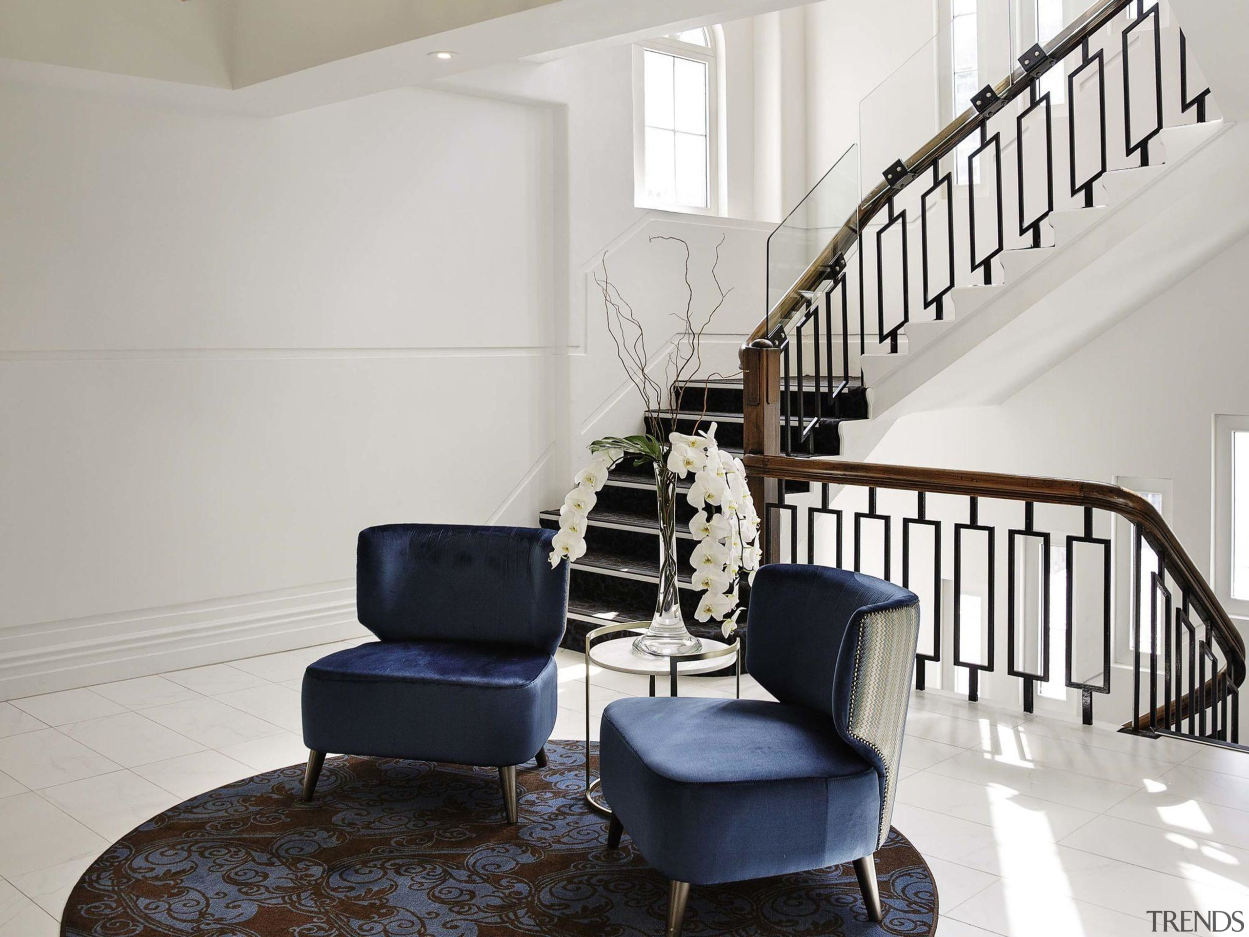 Grand Windsor 4 - chair | floor | chair, floor, home, interior design, living room, stairs, gray