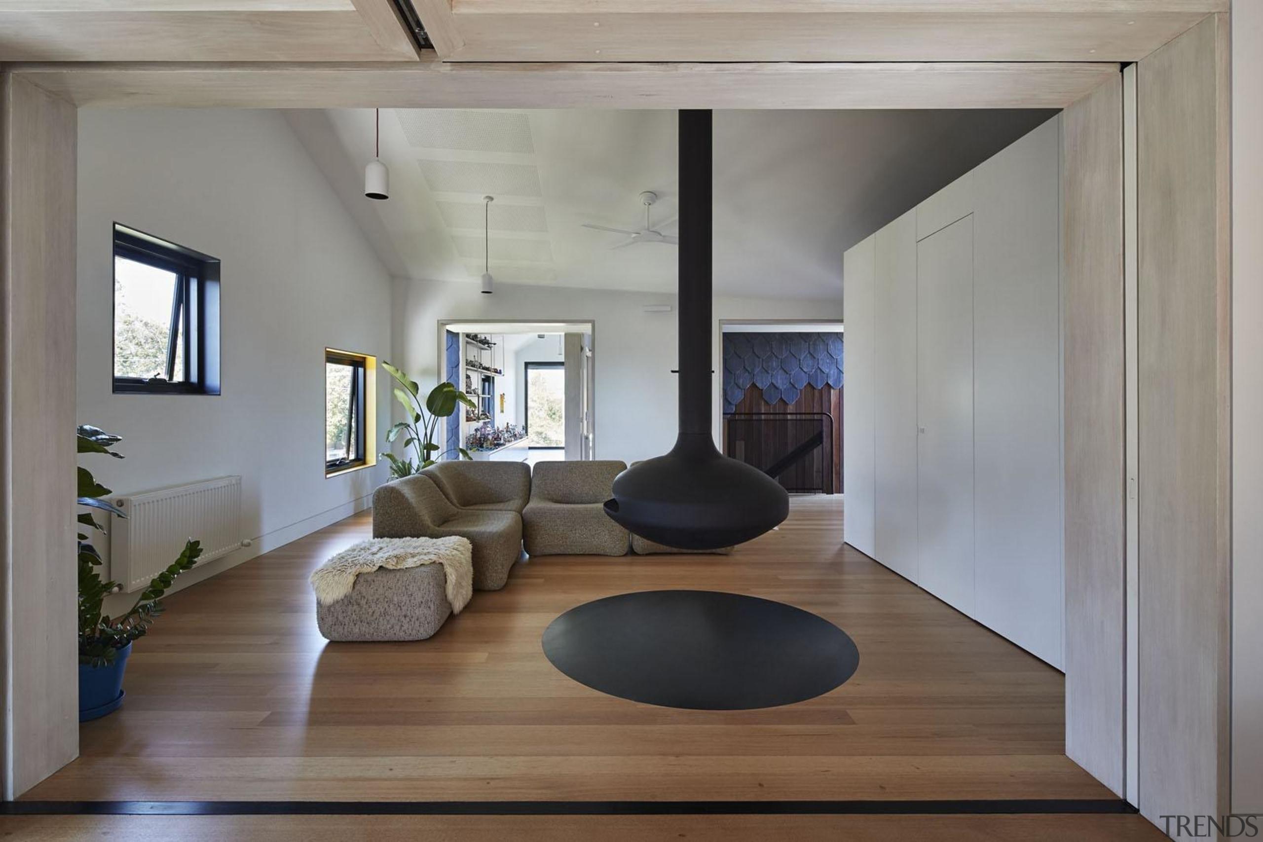 Architect: Austin Maynard ArchitectsPhotography by Peter Bennetts architecture, ceiling, floor, flooring, hardwood, house, interior design, living room, loft, wood flooring, gray