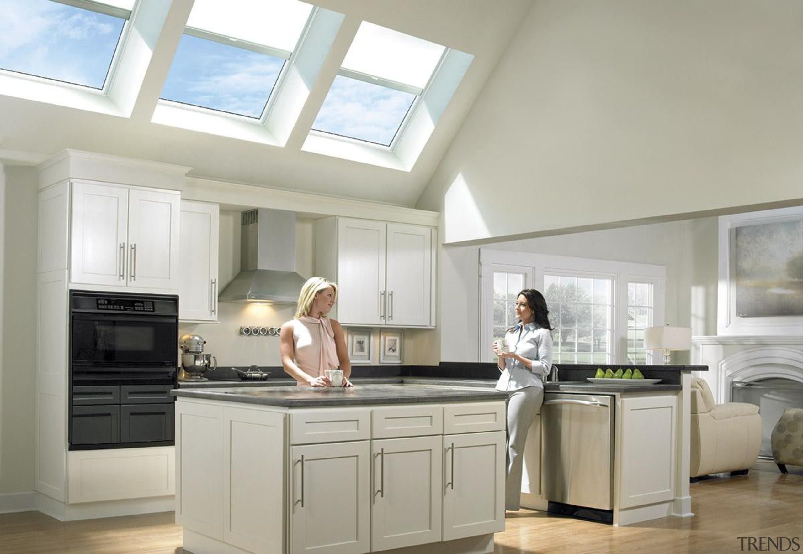 Bringing in natural light and fresh air, skylights countertop, cuisine classique, interior design, kitchen, room, window, gray
