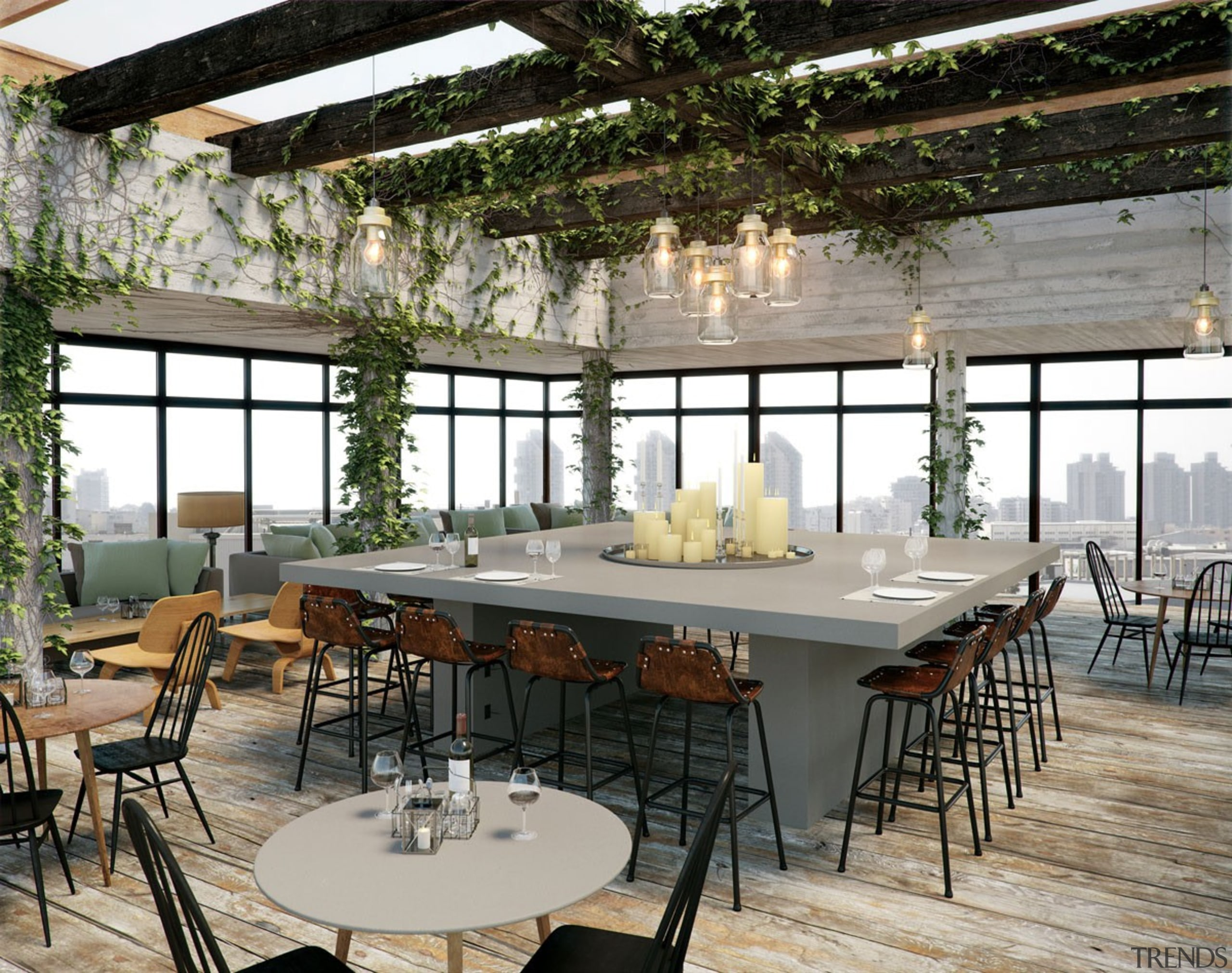 A natural soft grey with a distinctive texture dining room, furniture, interior design, restaurant, table, gray, black
