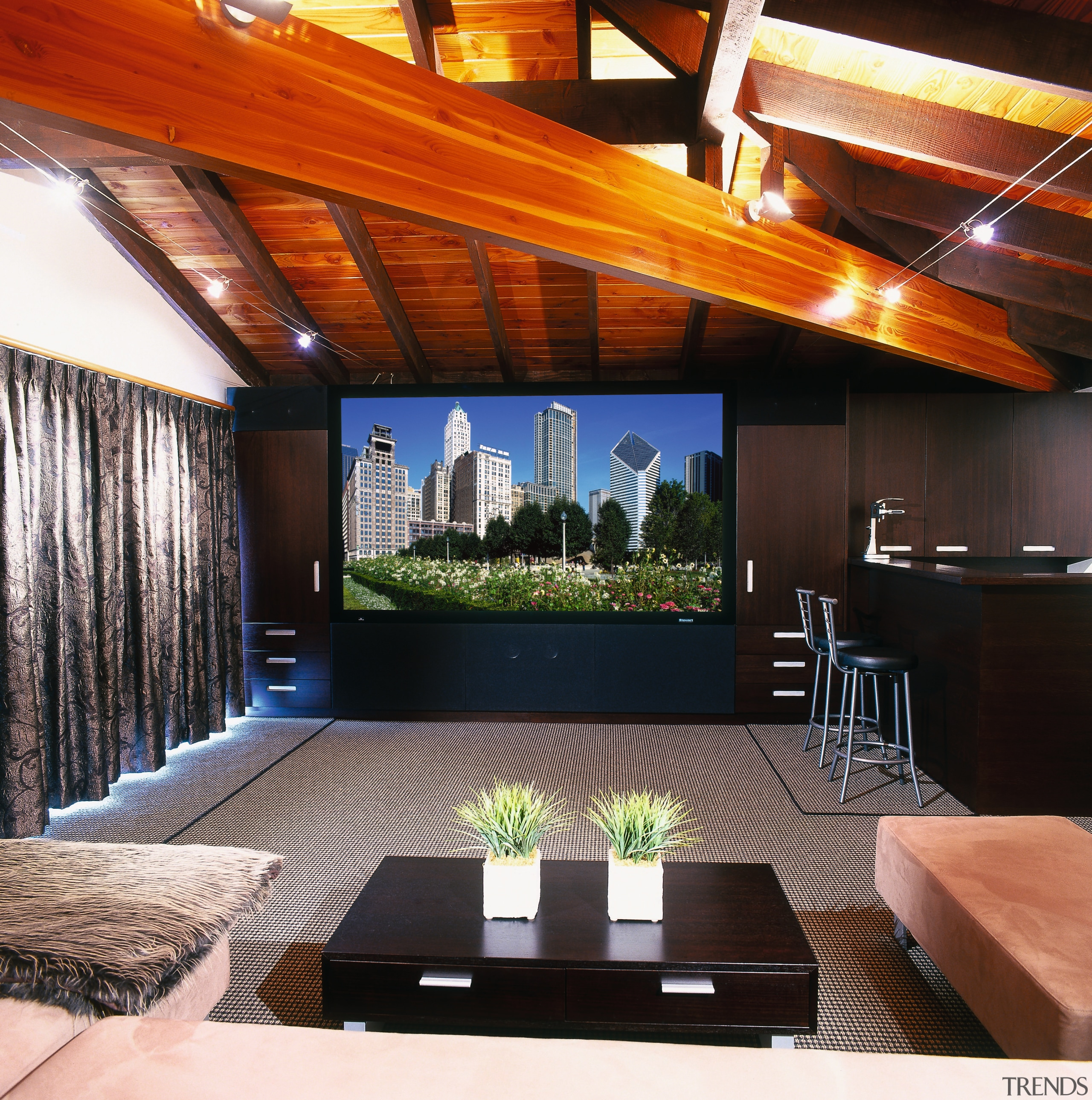 view of the home theatre area with subwoofers, ceiling, interior design, living room, property, real estate, black