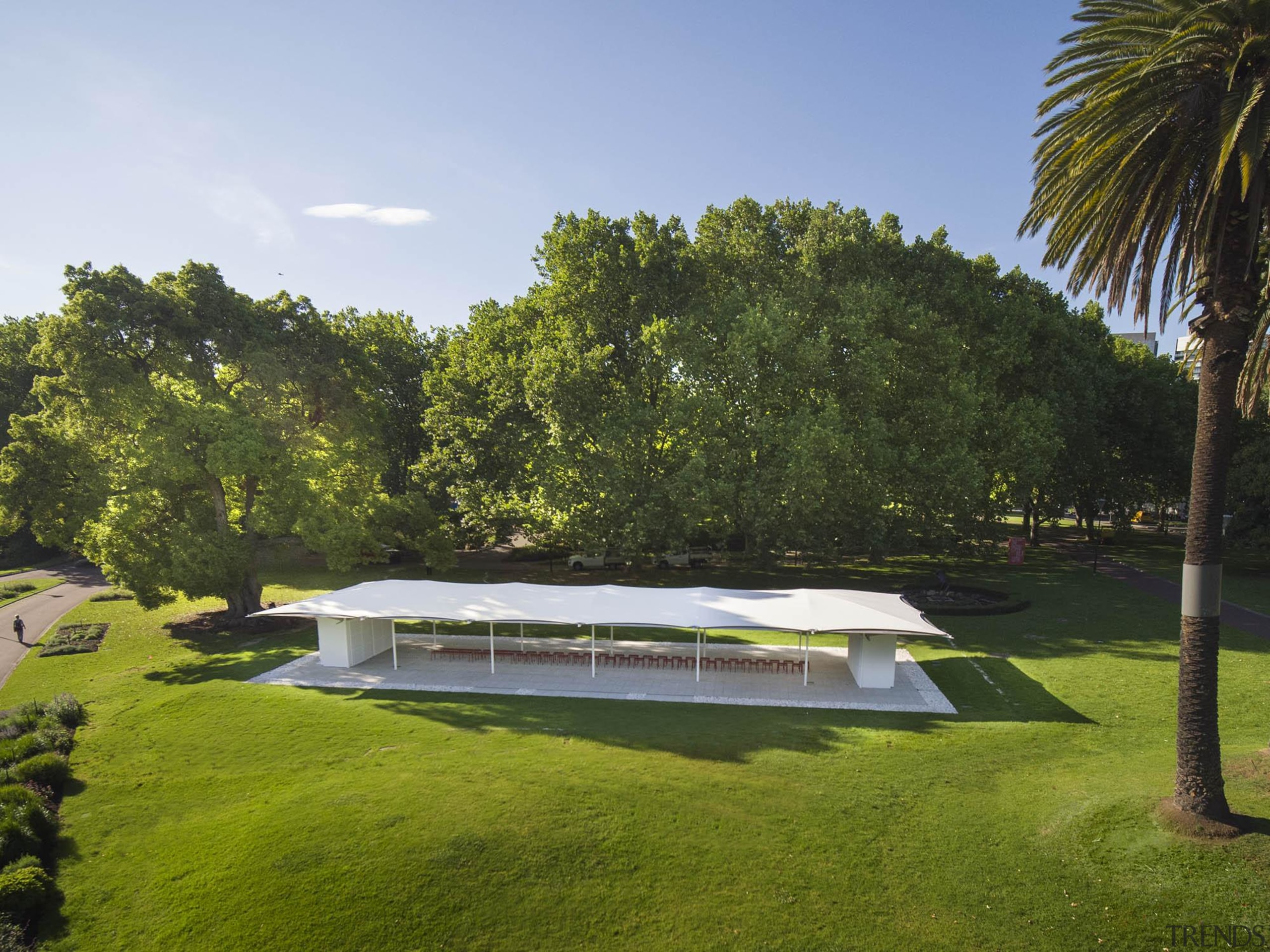 Inspired by architect Glenn Murcutt's career, 2019 MPavilion architecture, building, estate, grass, home, house, lawn, leisure, pavilion, plant community, property, real estate, shade, tree, brown