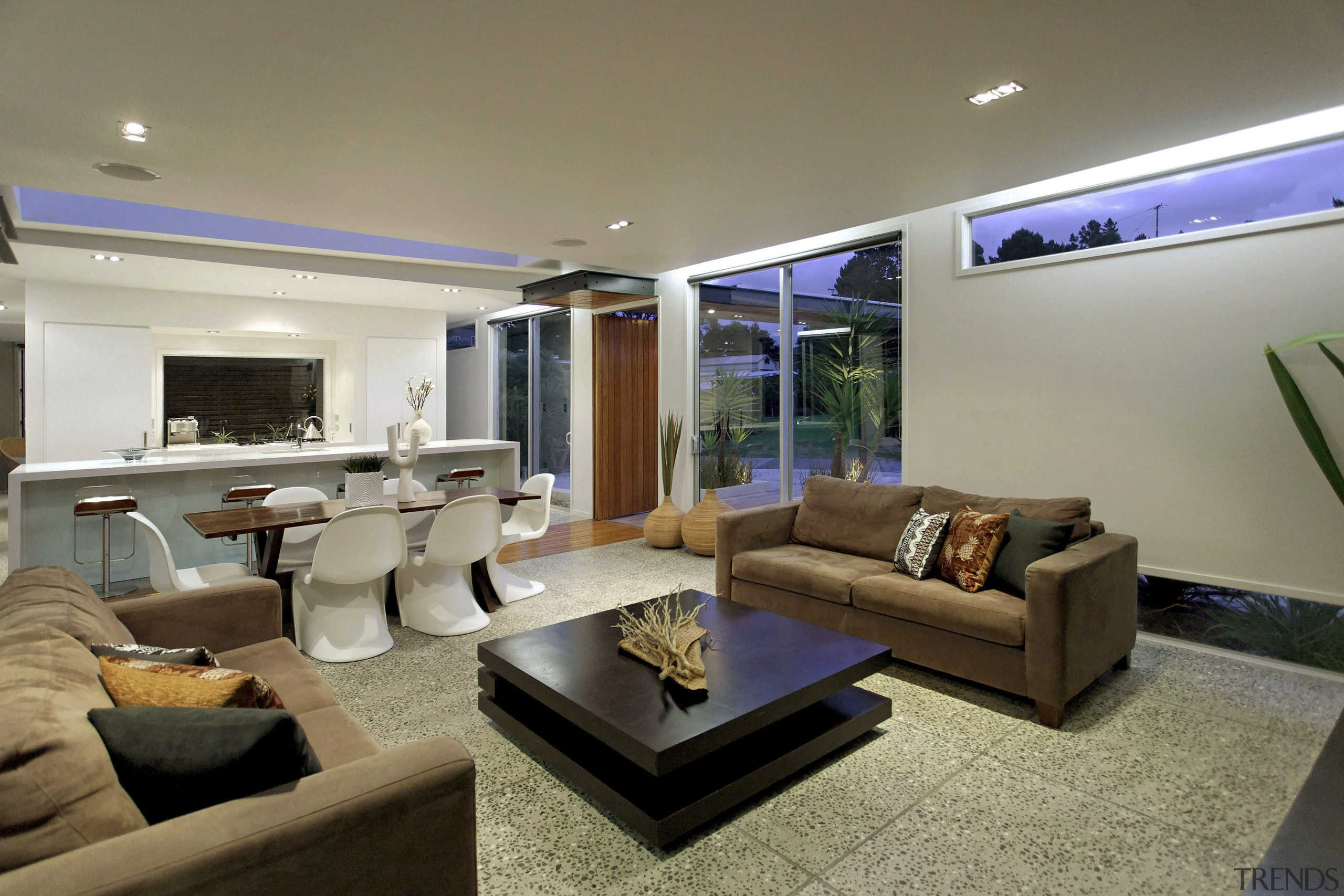 View of main living area - View of ceiling, home, interior design, living room, property, real estate, room, gray, brown