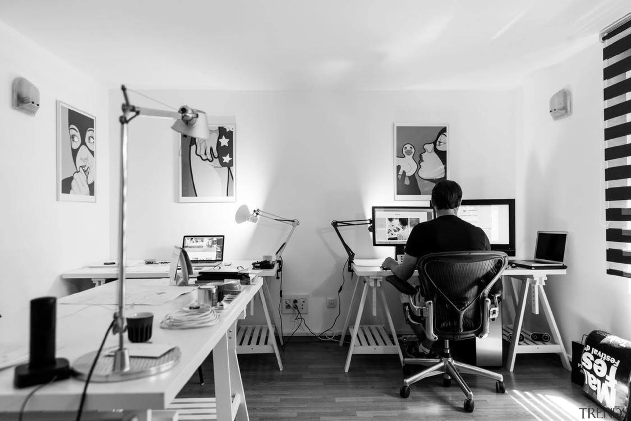 How to create the ultimate home office - black and white, chair, design, furniture, interior design, monochrome photography, office, photography, product design, table, white