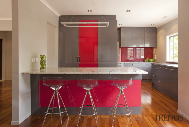 Streamlined Grey Kitchen With Red A Gallery 2 Trends