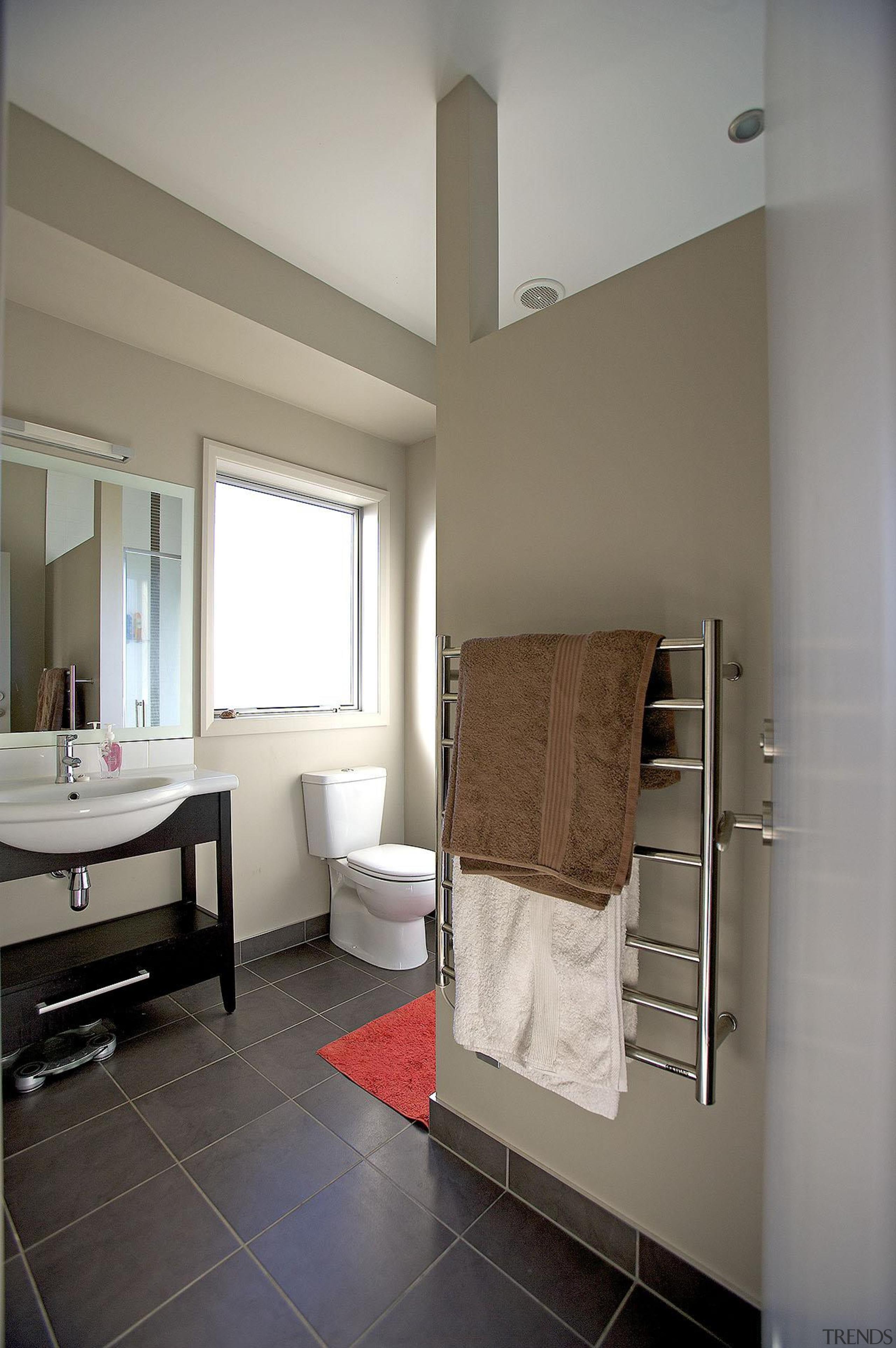 For more information, please visit www.gjgardner.co.nz architecture, bathroom, ceiling, daylighting, floor, flooring, home, interior design, living room, real estate, room, window, gray