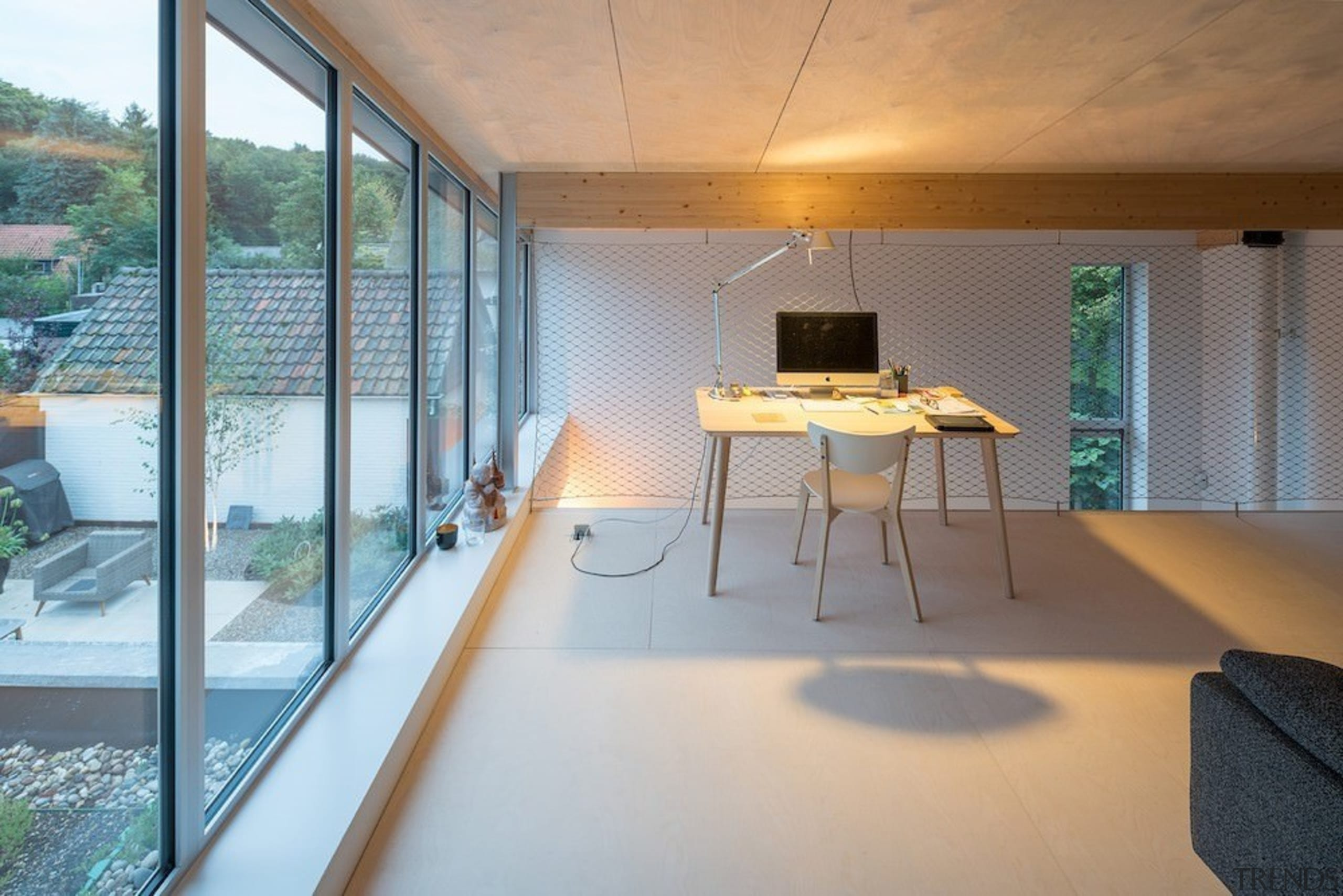 This is the perfect office – private, minimalist apartment, architecture, daylighting, estate, floor, house, interior design, property, real estate, window, gray