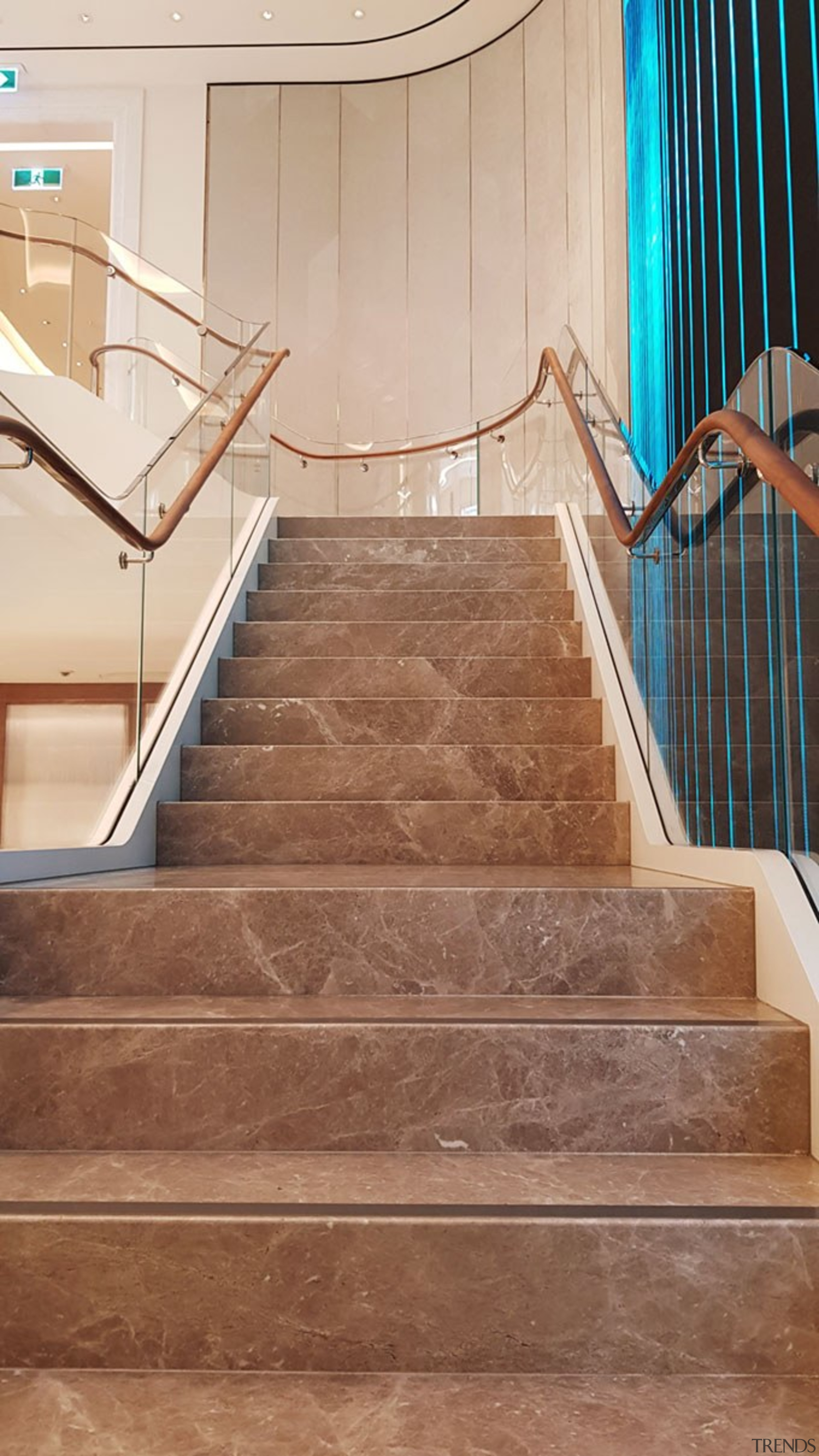 Tiffany Co Sydney 6 - architecture | baluster architecture, baluster, building, daylighting, floor, flooring, glass, handrail, hardwood, home, interior design, line, property, real estate, room, stairs, tile, wood, wood flooring, brown, orange