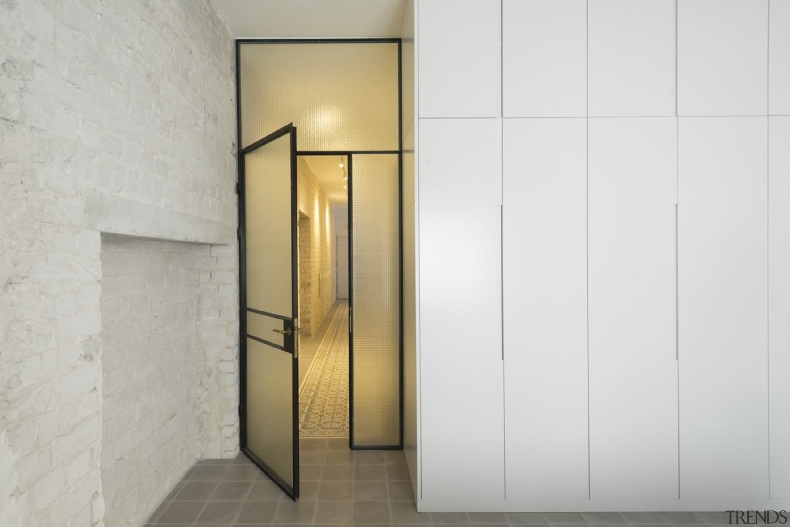 Tall cabinets mean ample, easily accessible storage door, interior design, product design, property, white, gray