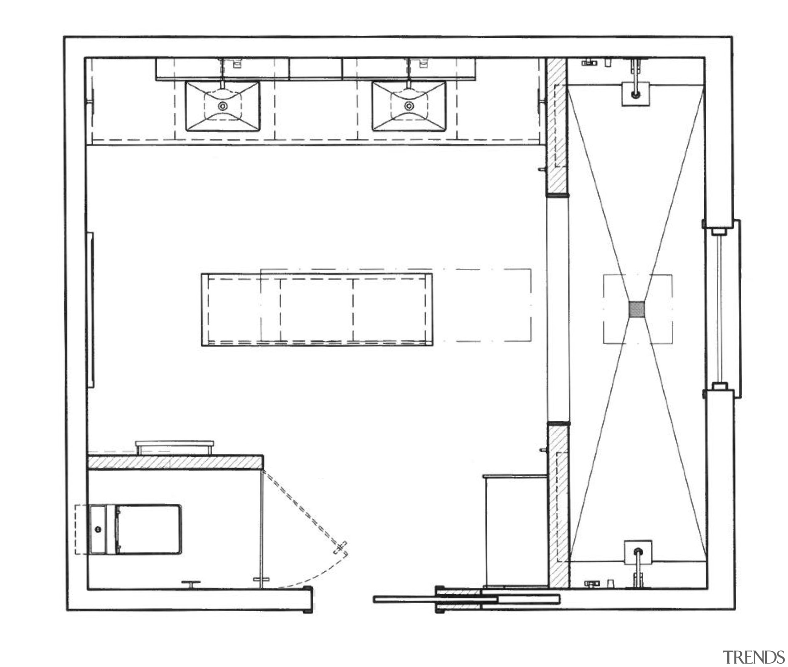 The two his and hers shower niches are angle, area, artwork, black and white, design, diagram, drawing, floor plan, font, furniture, line, plan, product, product design, structure, technical drawing, white