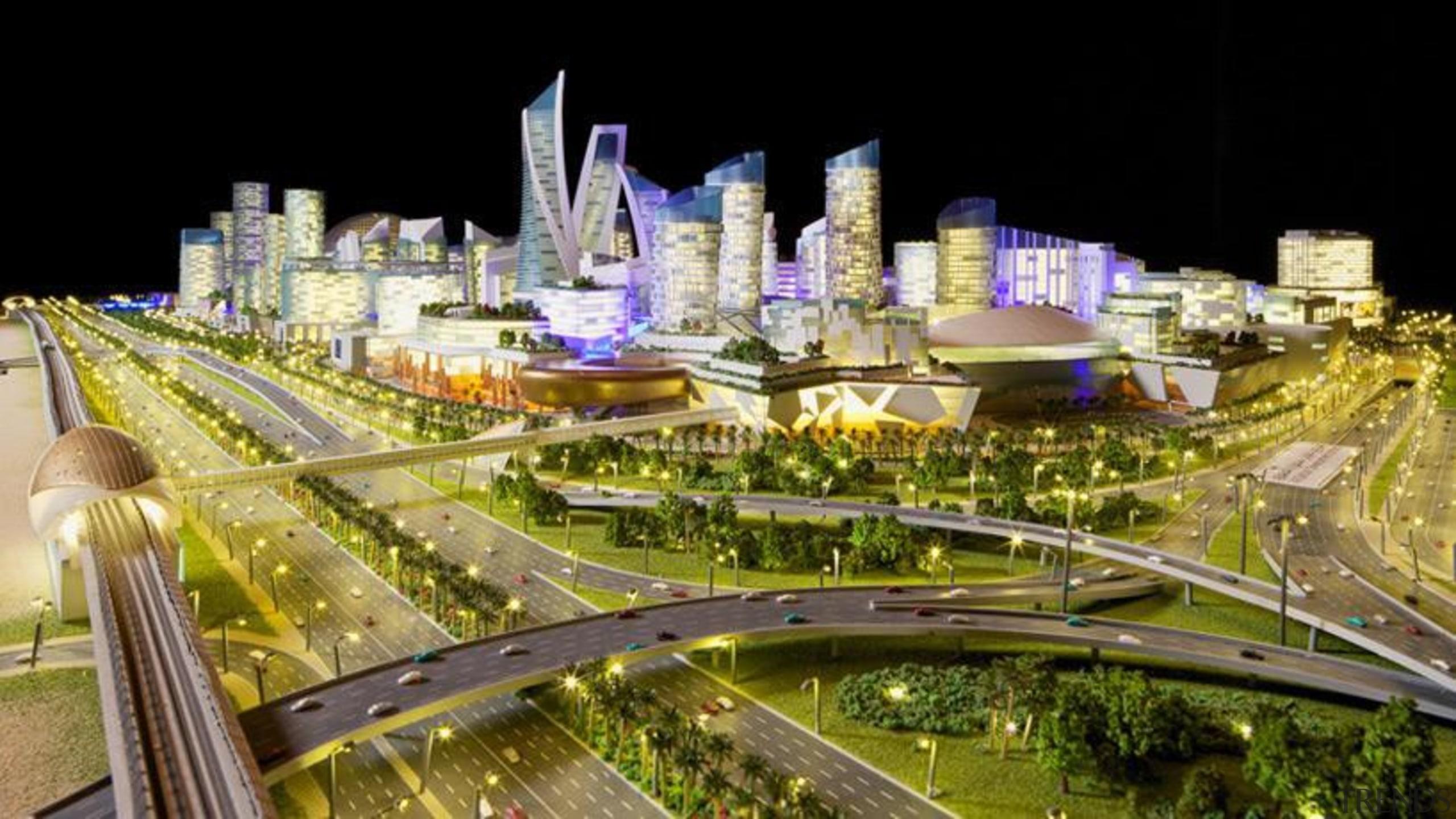 Although titled 'Mall of The World' this 48 bird's eye view, city, cityscape, downtown, landmark, metropolis, metropolitan area, mixed use, night, skyline, skyscraper, tourist attraction, urban area, urban design, brown, black