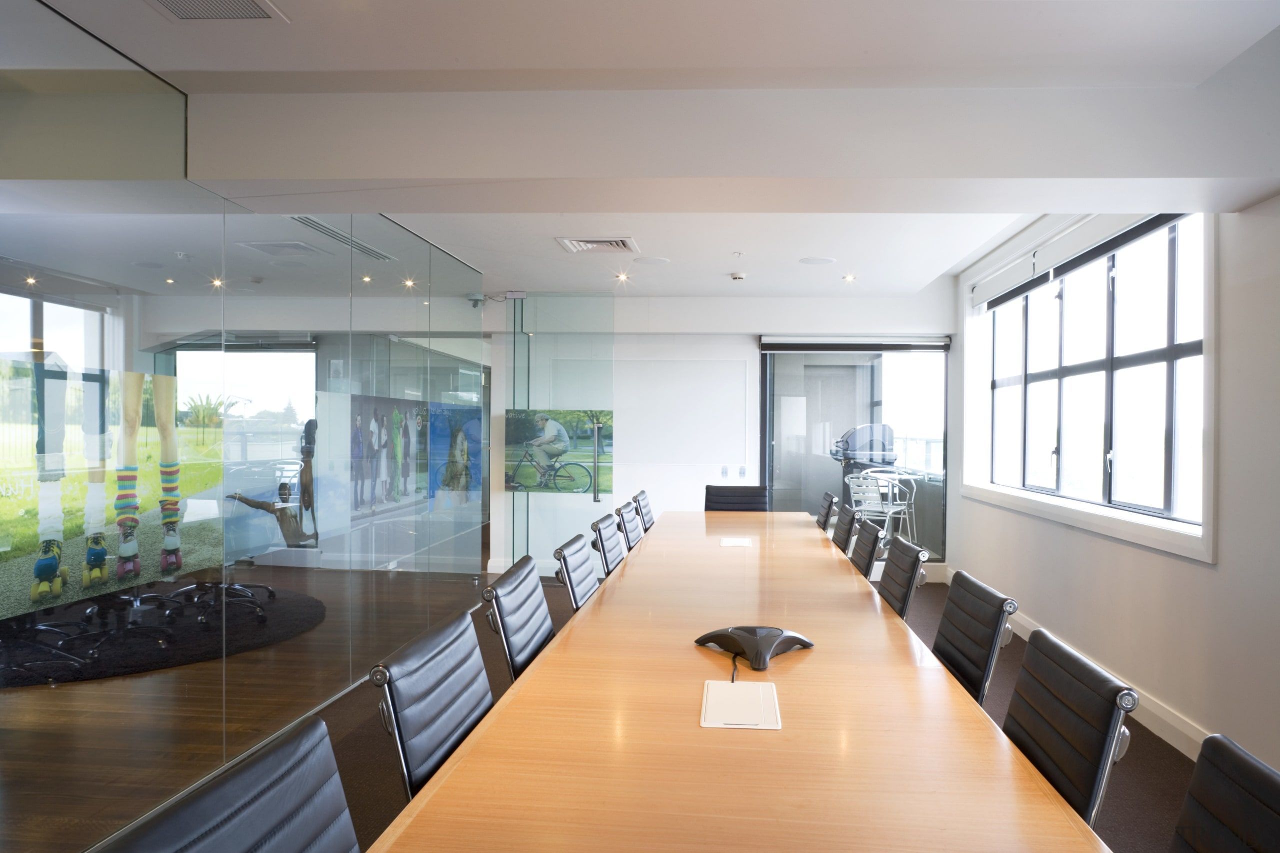 Contrasting textures enliven the recpetion area of the architecture, ceiling, conference hall, daylighting, glass, house, interior design, real estate, window, gray