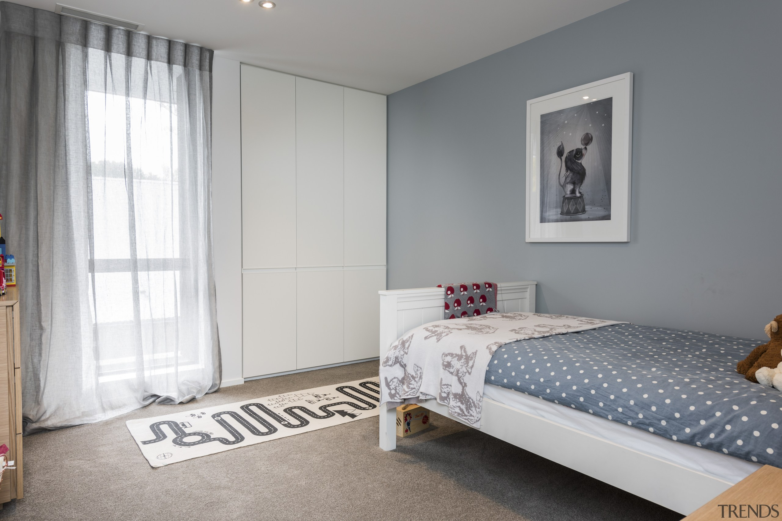 For the interior design of this home by bed, bedroom, home, house, interior design, Resene, Half Powder Blue, paint