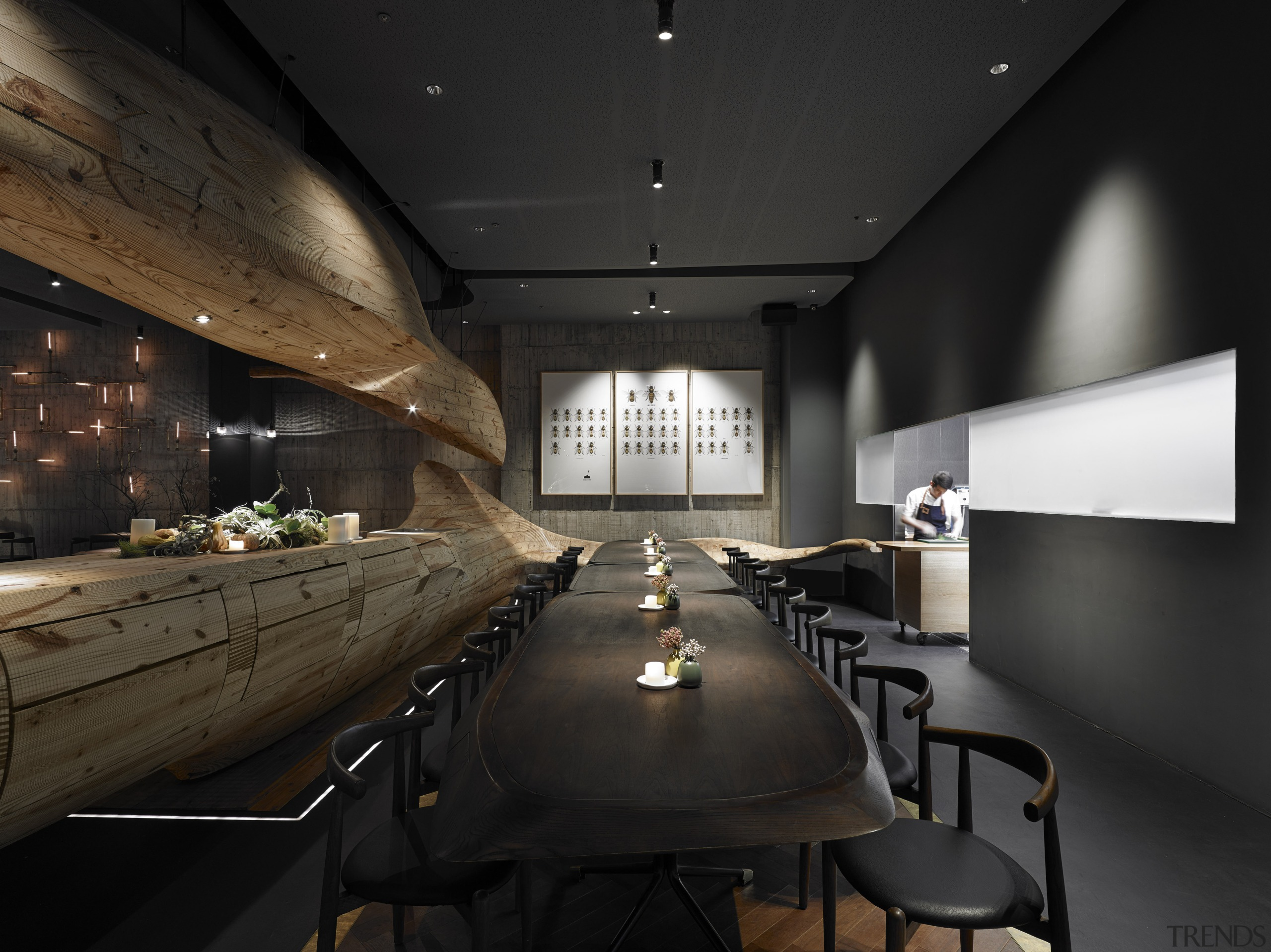 In Raw restaurant in Taipei, a large wood architecture, interior design, black