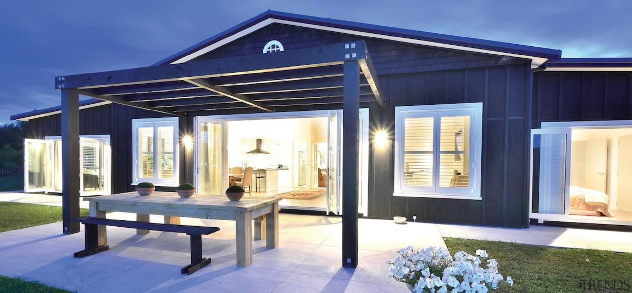 Pictured: Matakana Village Estate – Tim Cameron, 360 facade, home, house, property, real estate, roof, window, blue