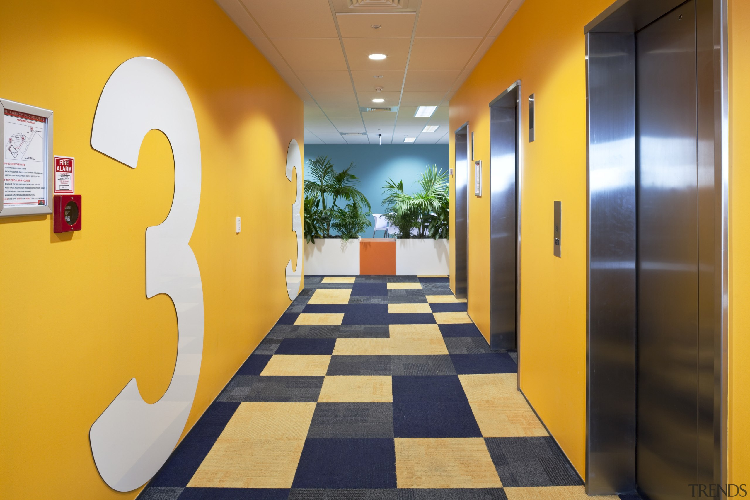 Interior view of Mercury Energy offices which features interior design, yellow, orange