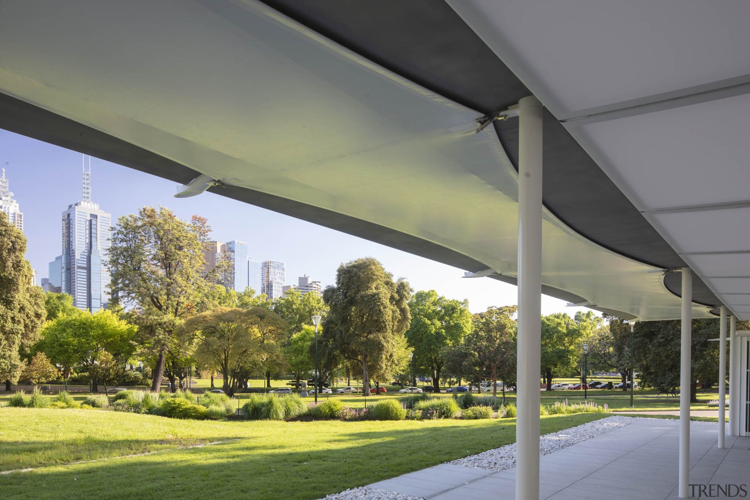 """""""I thought that the pavilion needed to address architecture, building, canopy, grass, real estate, shade, tree, gray"""