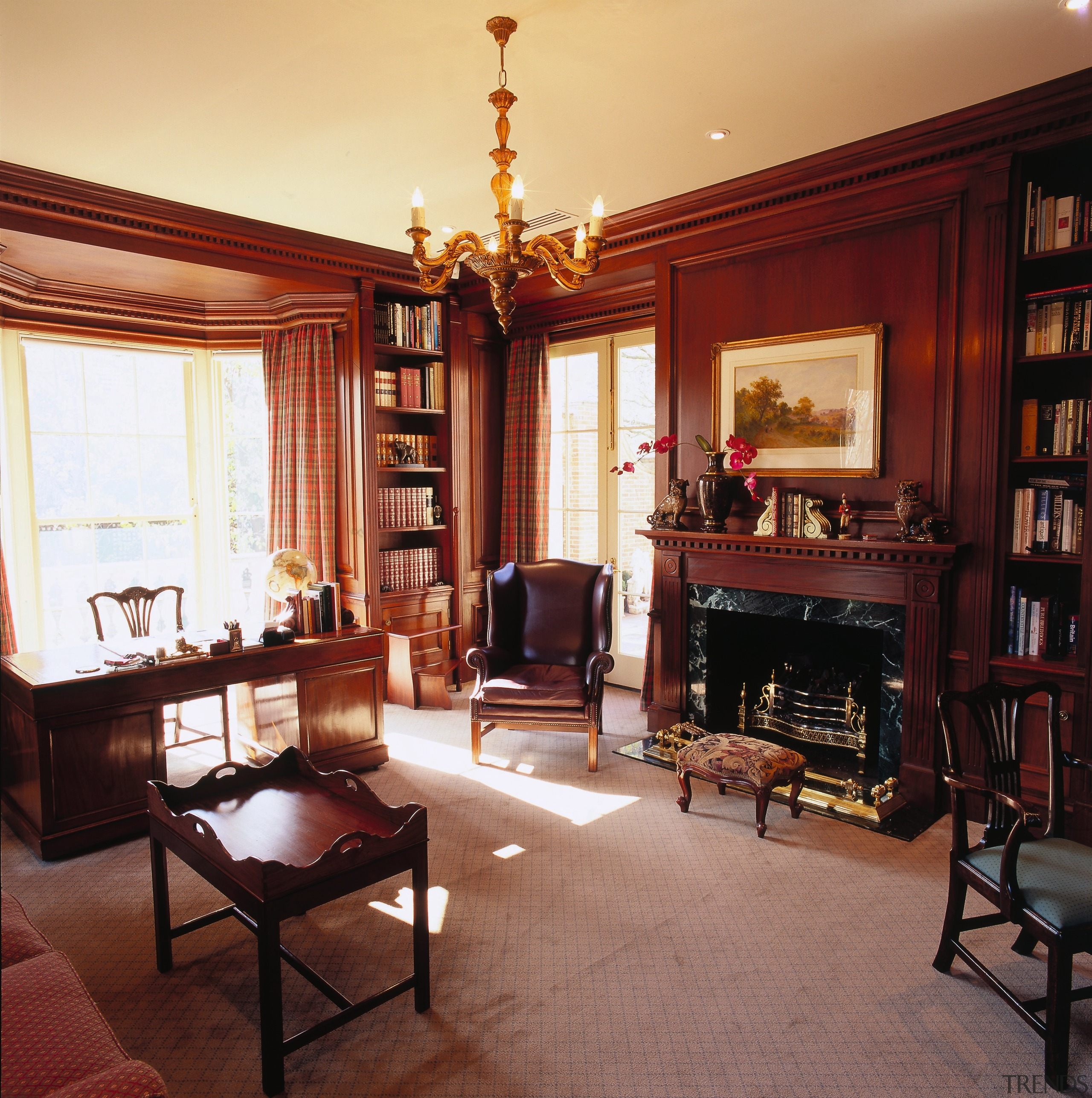 View of the study/ library, Brazillian mahogony wall-to-wall furniture, home, interior design, living room, room, window, red, orange