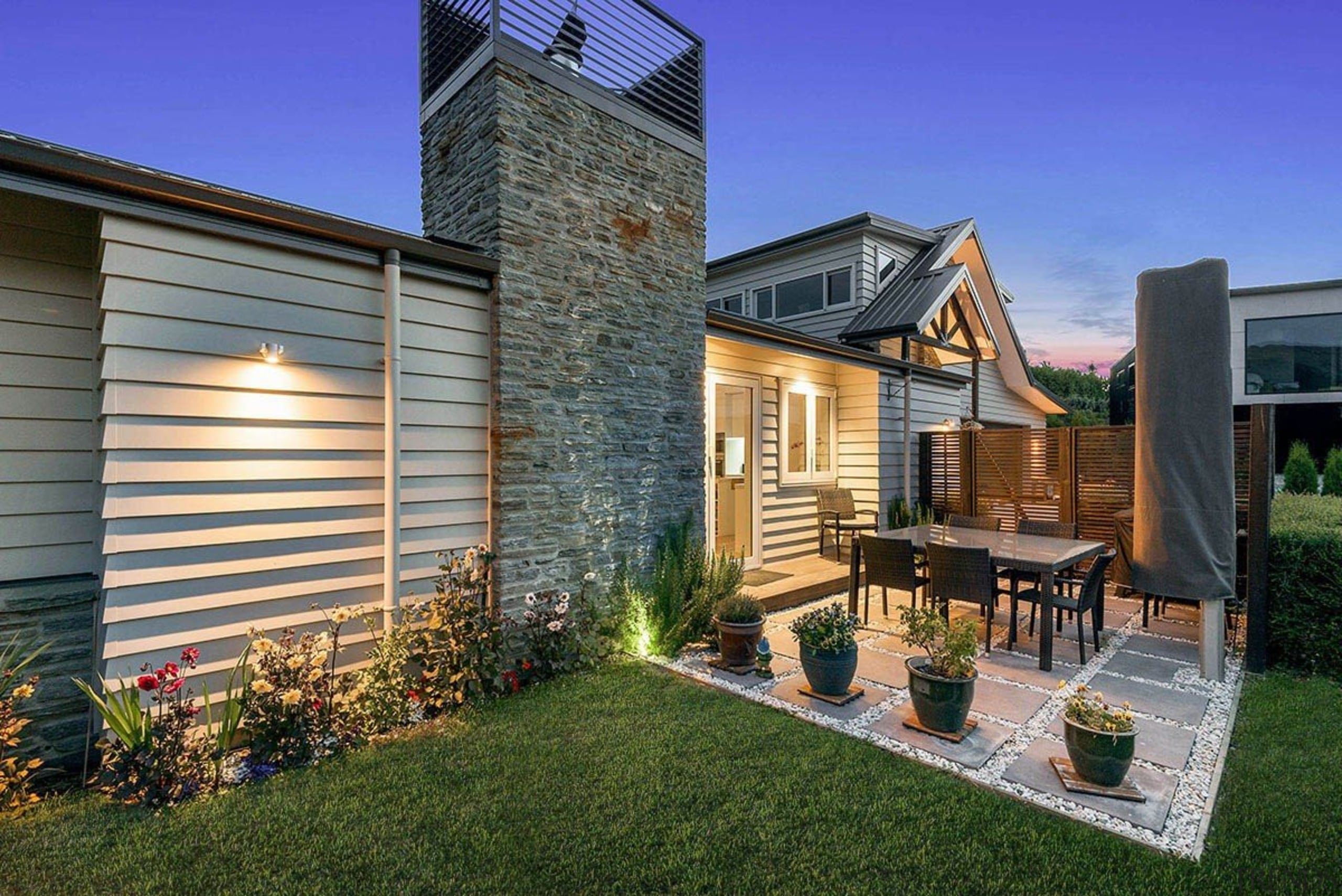 Natural schist stone and timber weatherboards go hand backyard, cottage, estate, facade, farmhouse, home, house, property, real estate, residential area, siding, yard, gray
